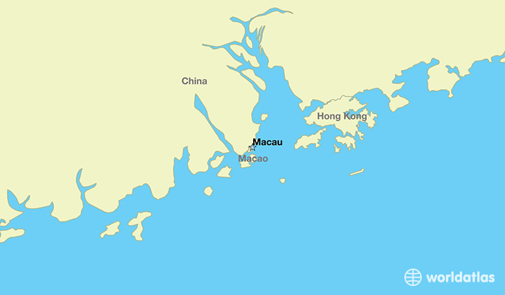 map showing the location of Macao