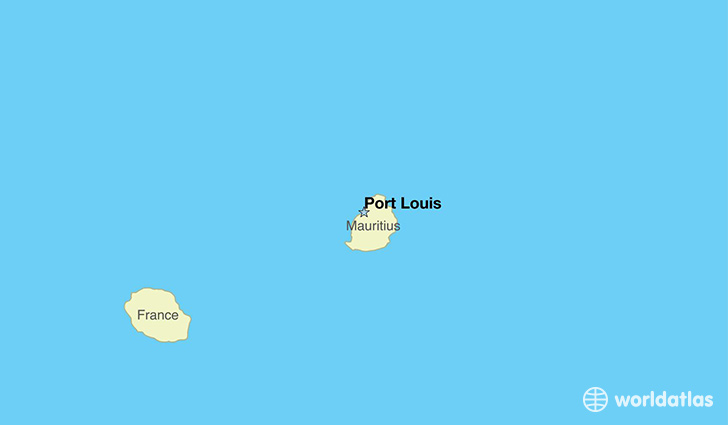 map showing the location of Mauritius