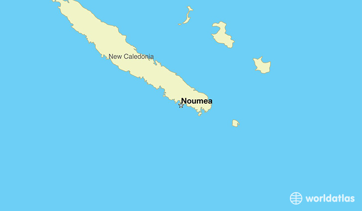map showing the location of New Caledonia