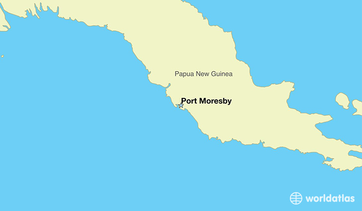 map showing the location of Papua New Guinea