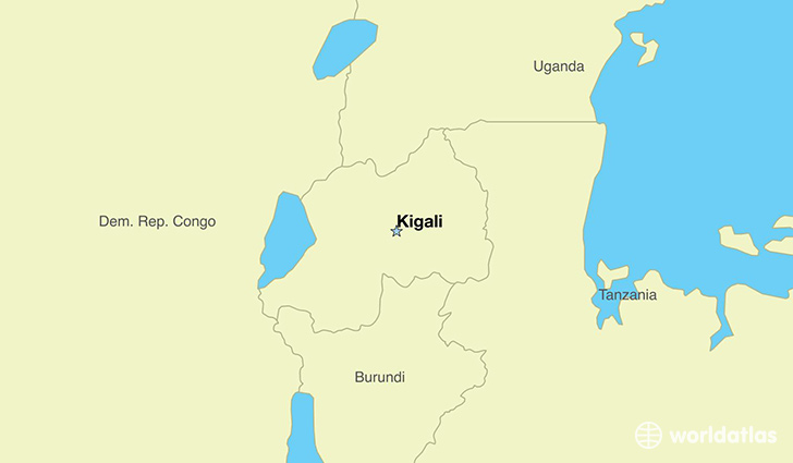 map showing the location of Rwanda