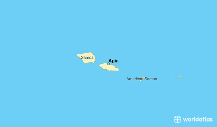 map showing the location of Samoa