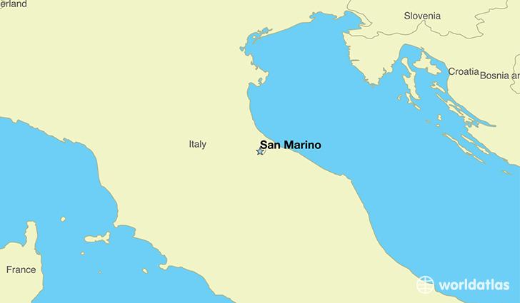 map showing the location of San Marino