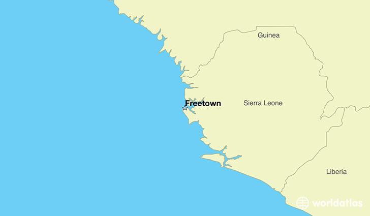 map showing the location of Sierra Leone
