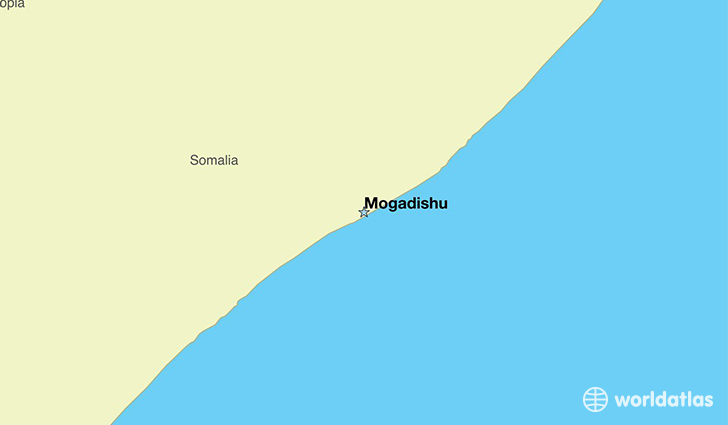 map showing the location of Somalia