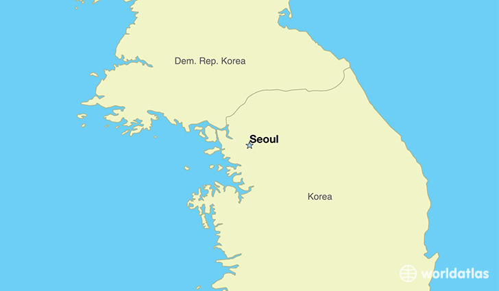 map showing the location of south korea
