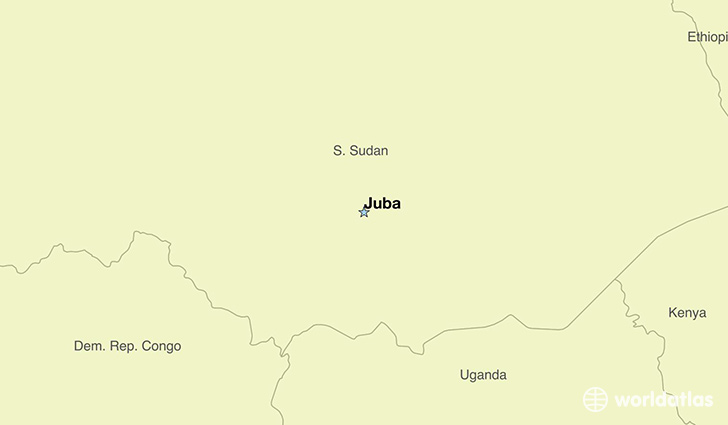 map showing the location of South Sudan