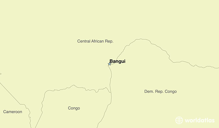 map showing the location of The Central African Republic