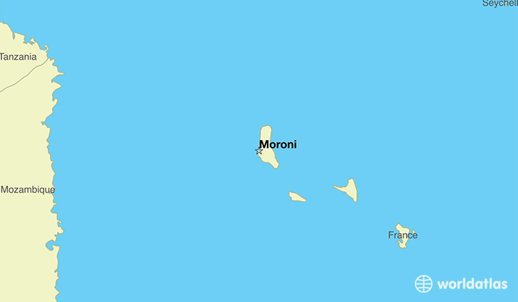 map showing the location of The Comoros