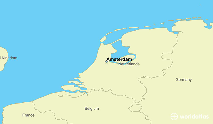 map showing the location of The Netherlands