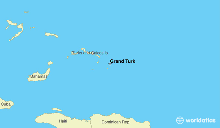 map showing the location of The Turks And Caicos Islands