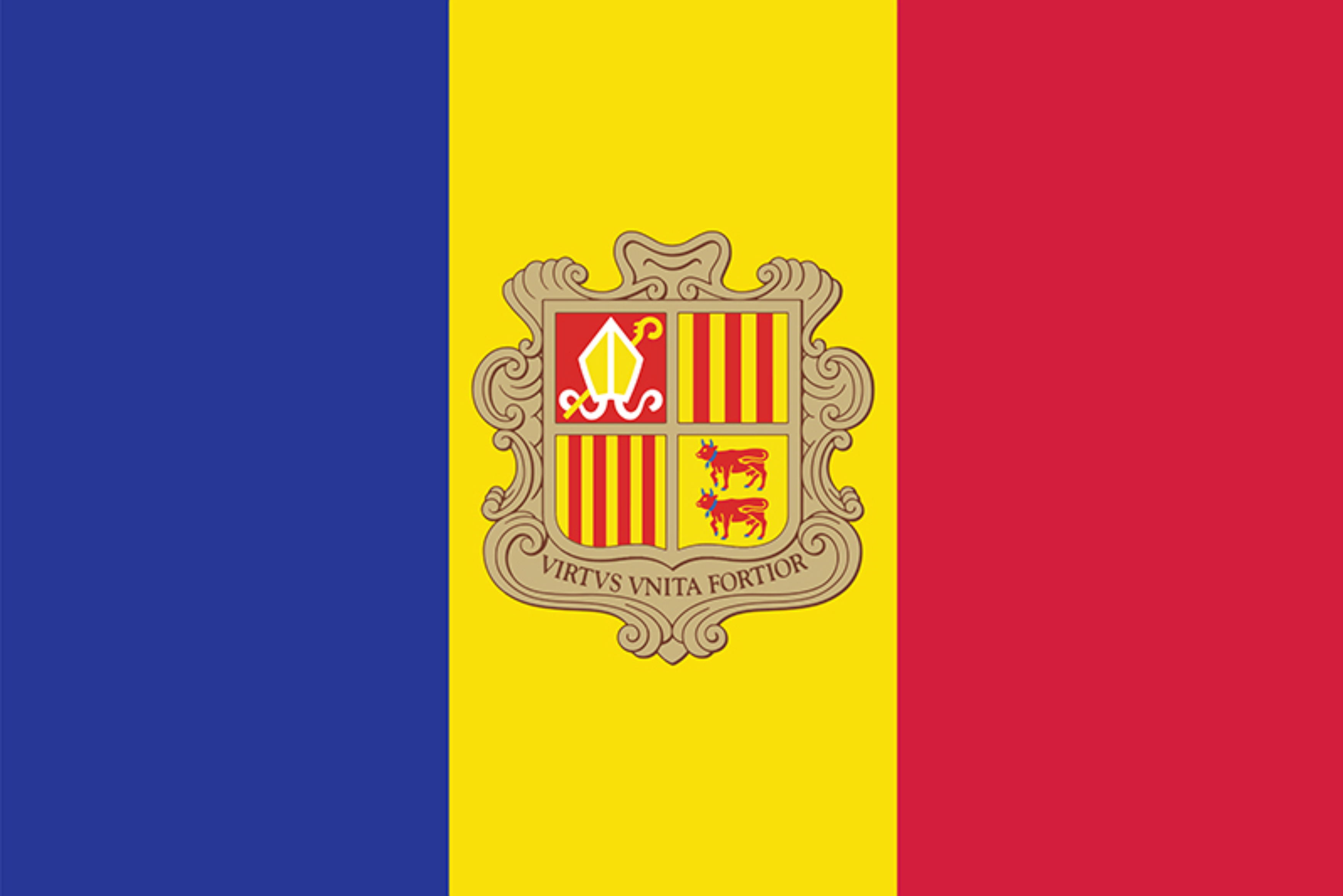 The Andorra flag features three equal vertical bands of blue, yellow, and red with the national coat of arms in the center