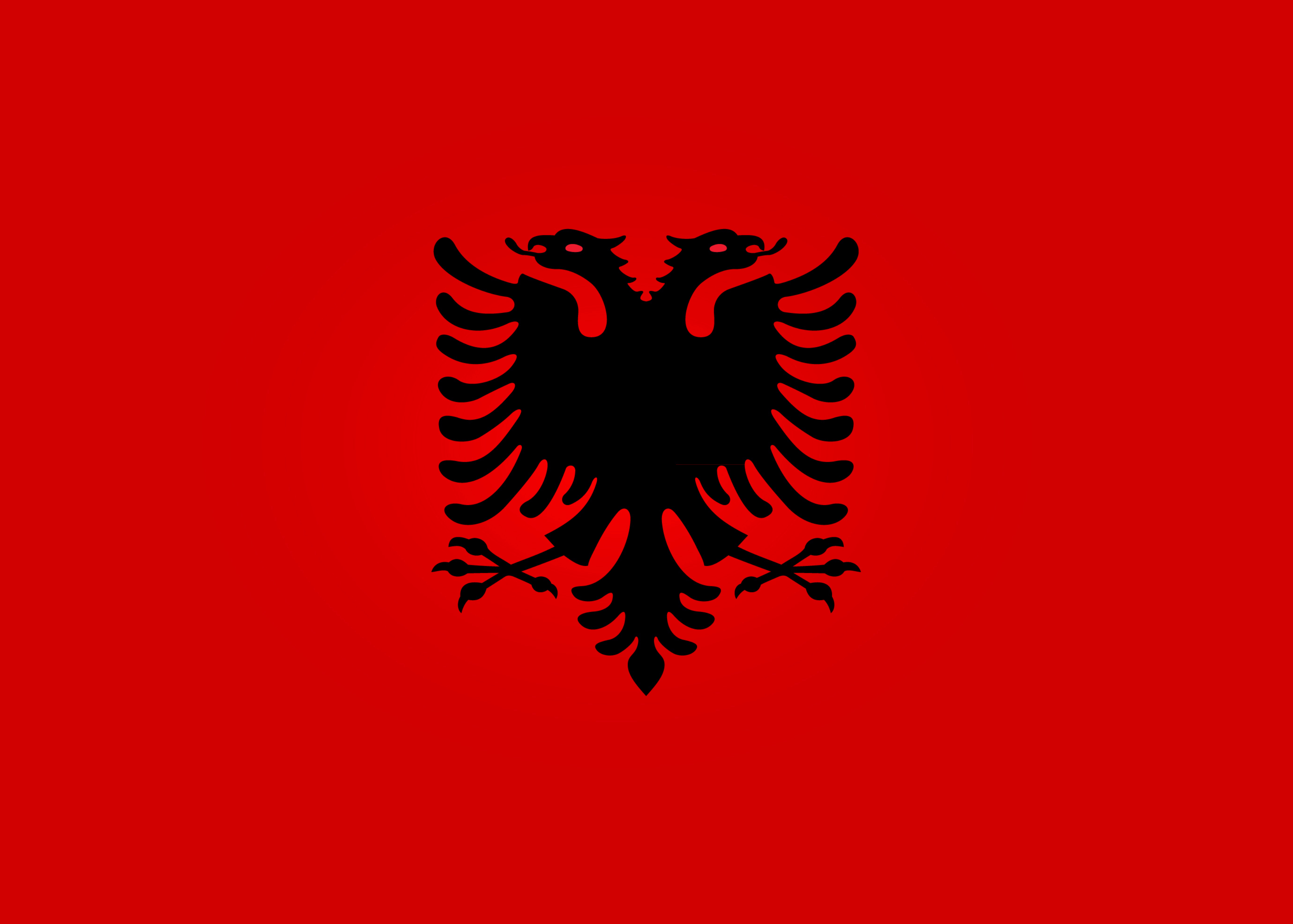 The National Flag of Albania - Flamuri Kombëtar  features a red background with a double-headed eagle placed in the center.