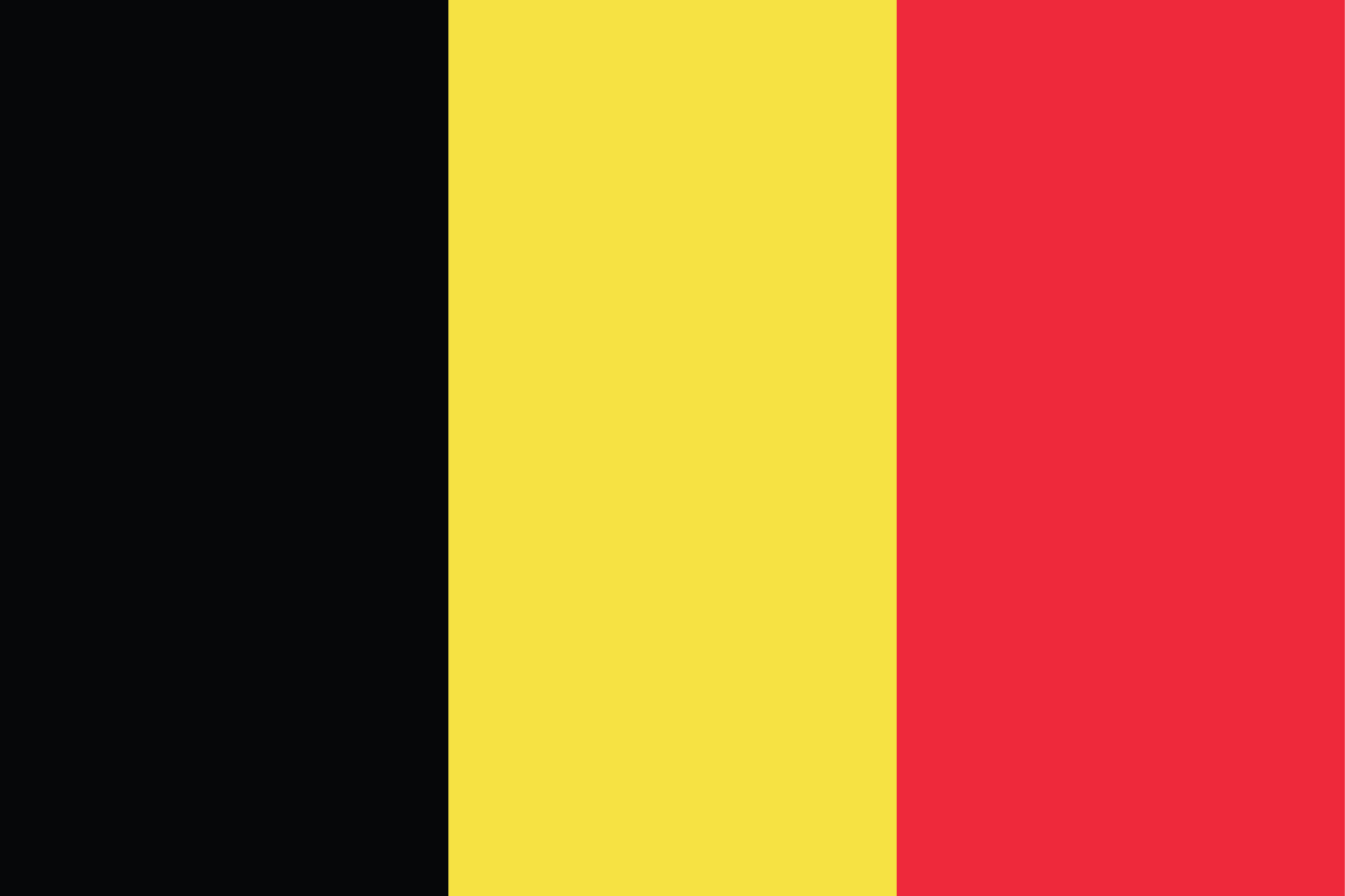 The Flag of Belgium is a tricolor featuring three equal vertical bands of black (hoist side), yellow, and red.
