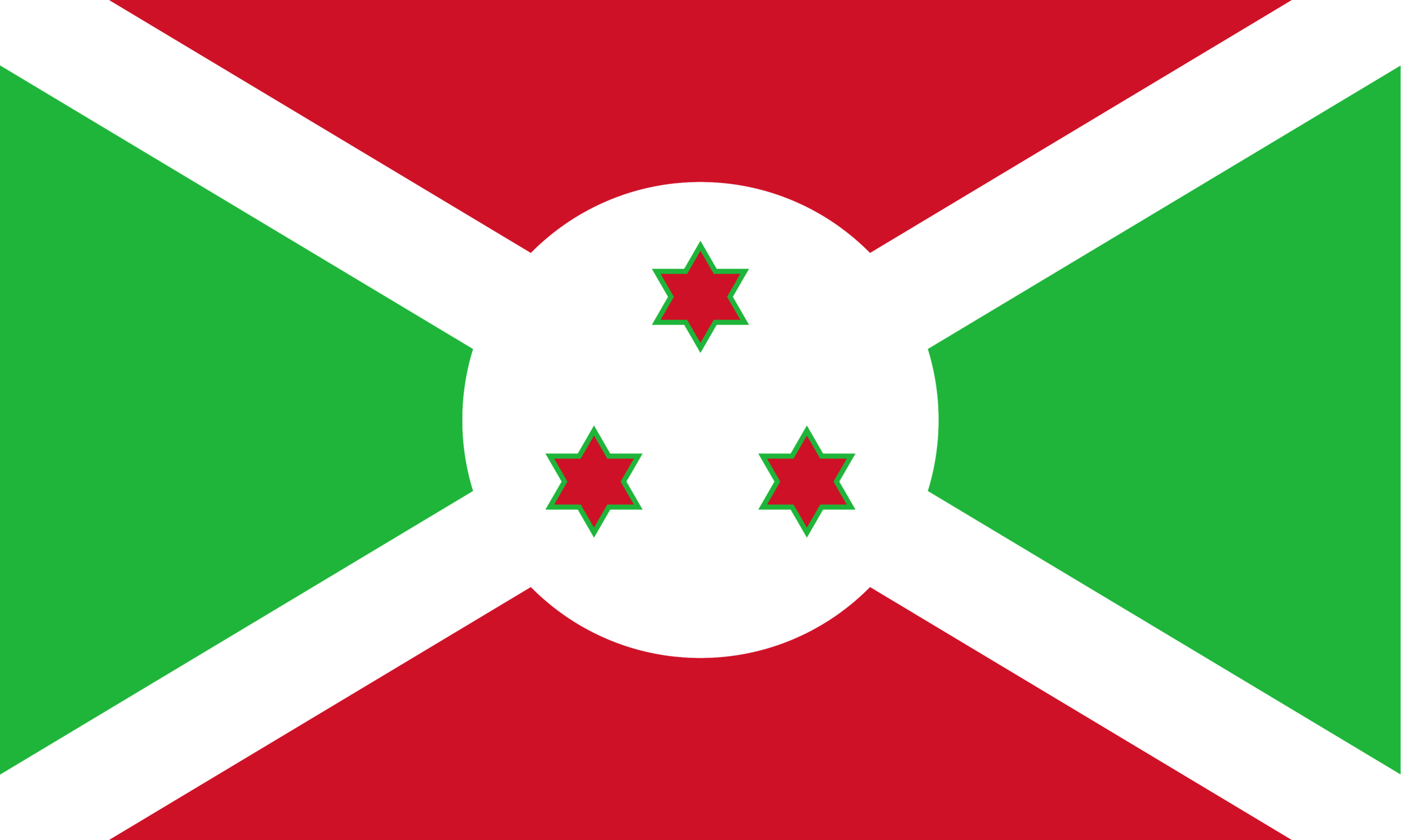 The National Flag of Burundi featuring the red, green and white colors designed on a horizontal rectangle.