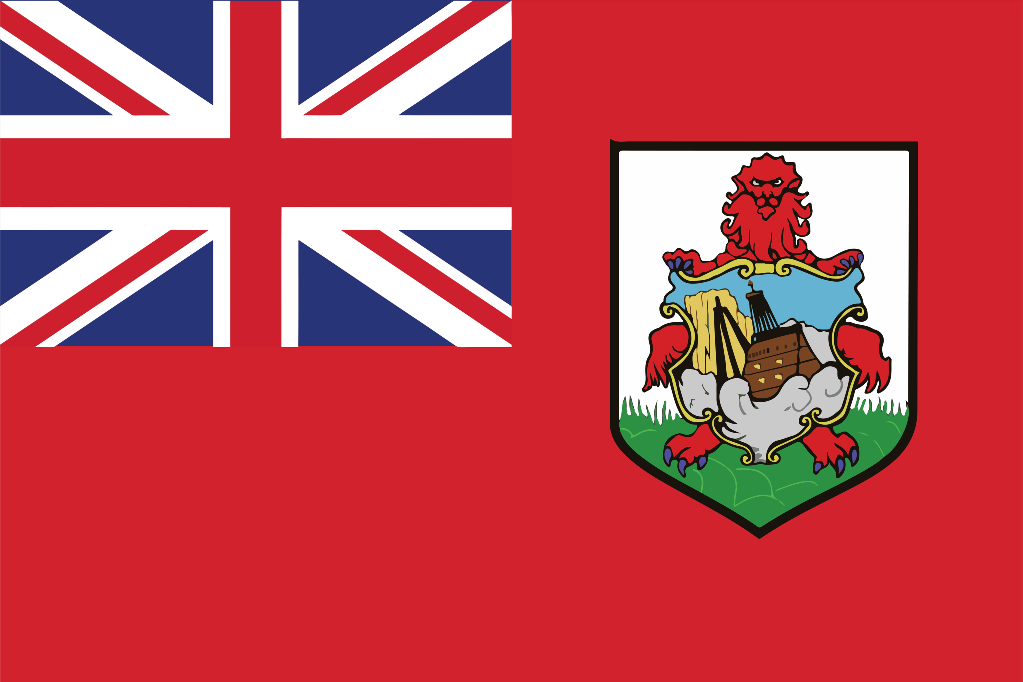 The National Flag of Bermuda features a red background with the flag of the UK on the hoist side and the Bermuda coat of arms centered on the outer half of the flag.