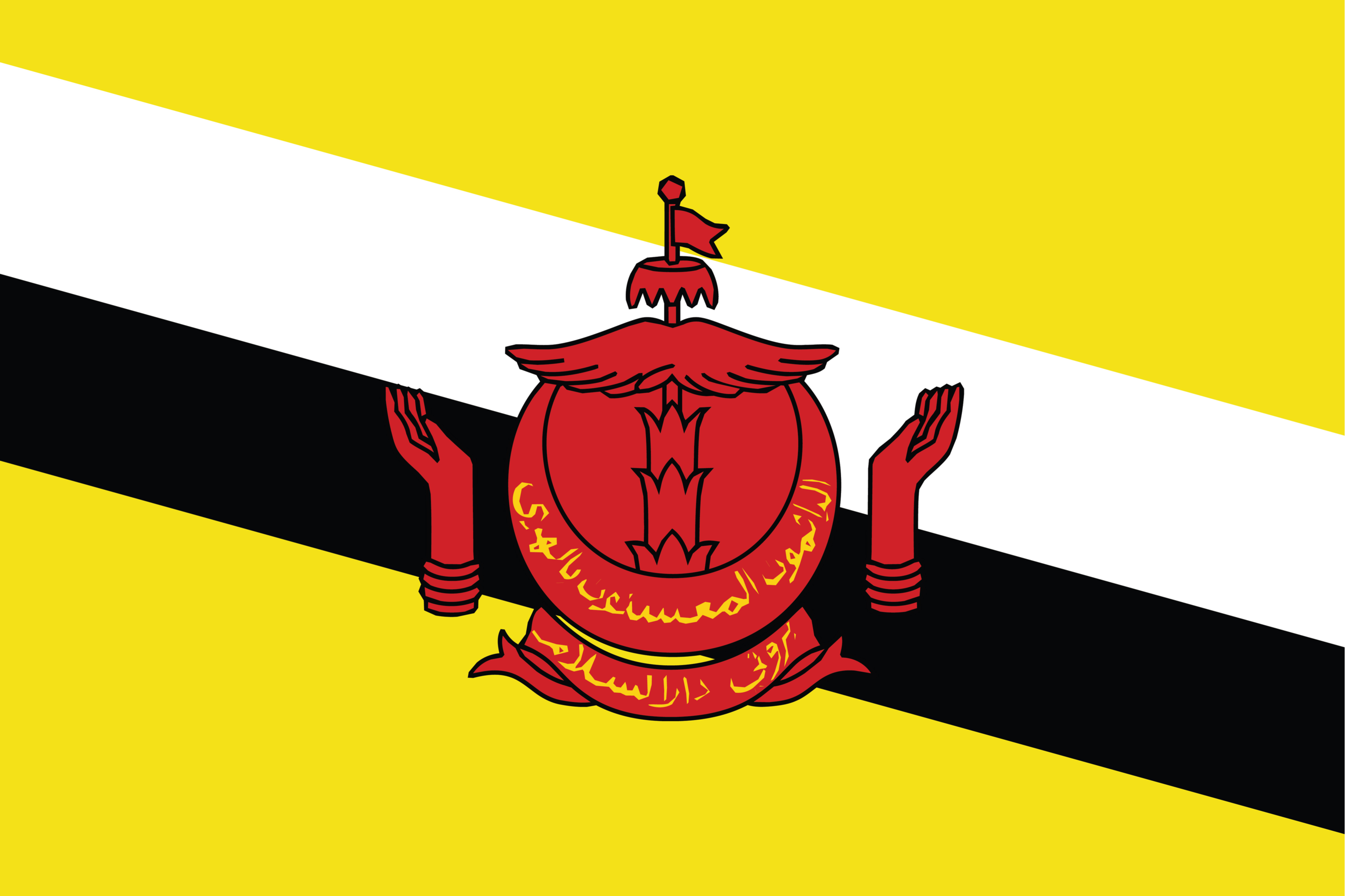 The National Flag of Brunei Darussalam features a yellow field with two diagonal black and white stripes.