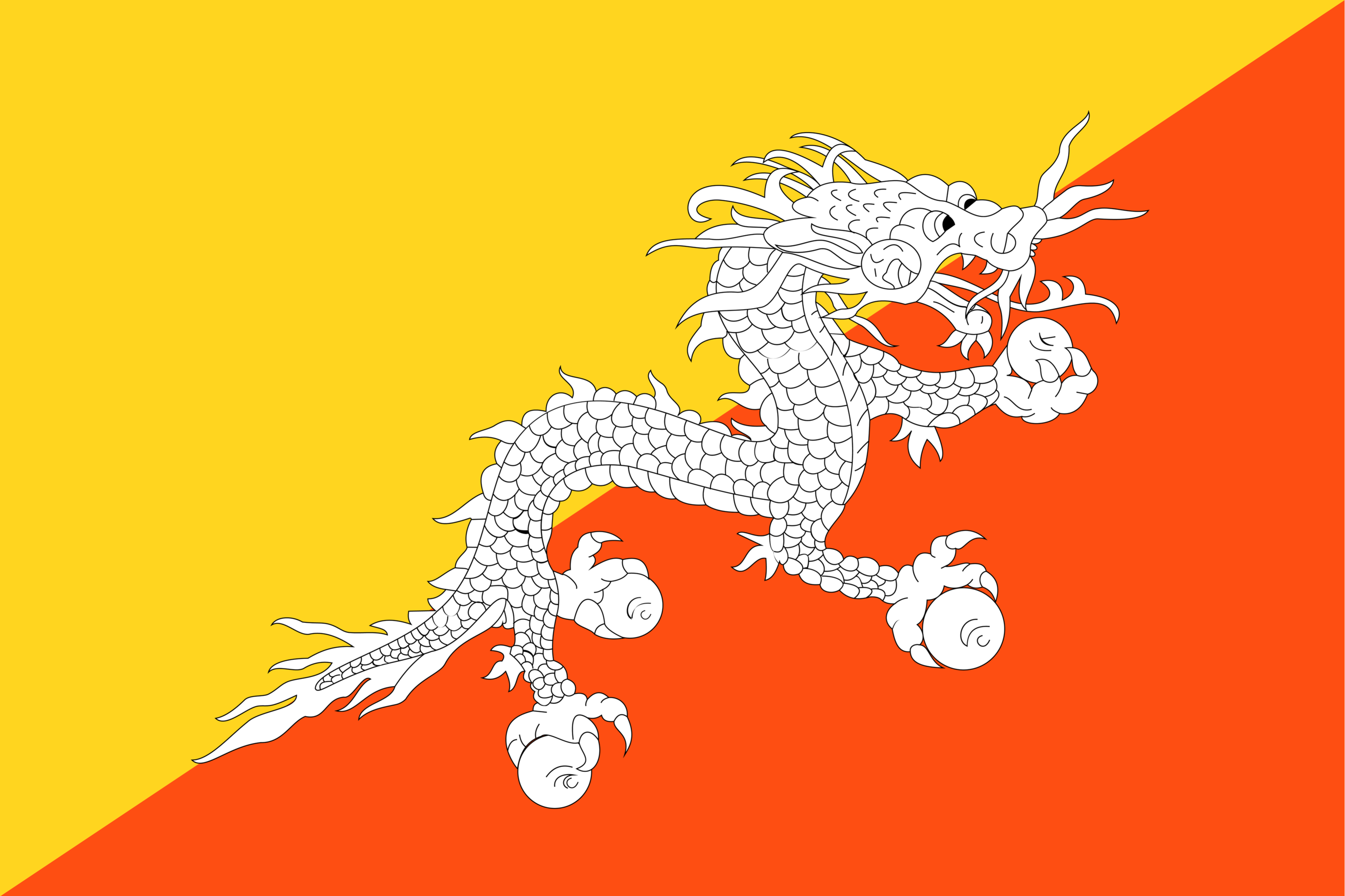 The National Flag of Bhutan is diagonally divided into the upper yellow triangle and the lower orange triangle; featuring a white dragon in its center.