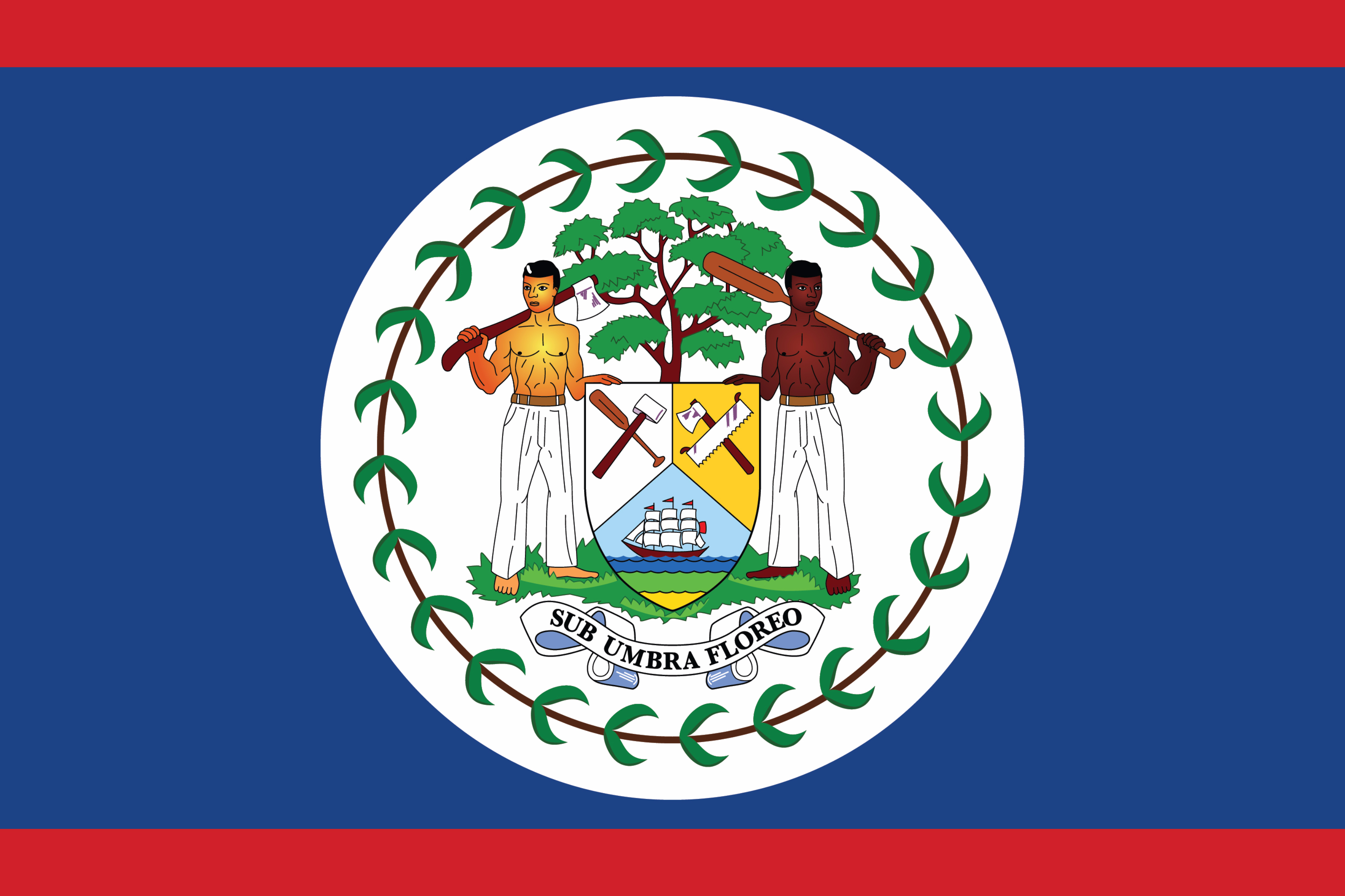The National flag of Belize features a royal blue field with two narrow red stripes along the top and bottom edges, with the coat of arms on a central disc on the blue field;