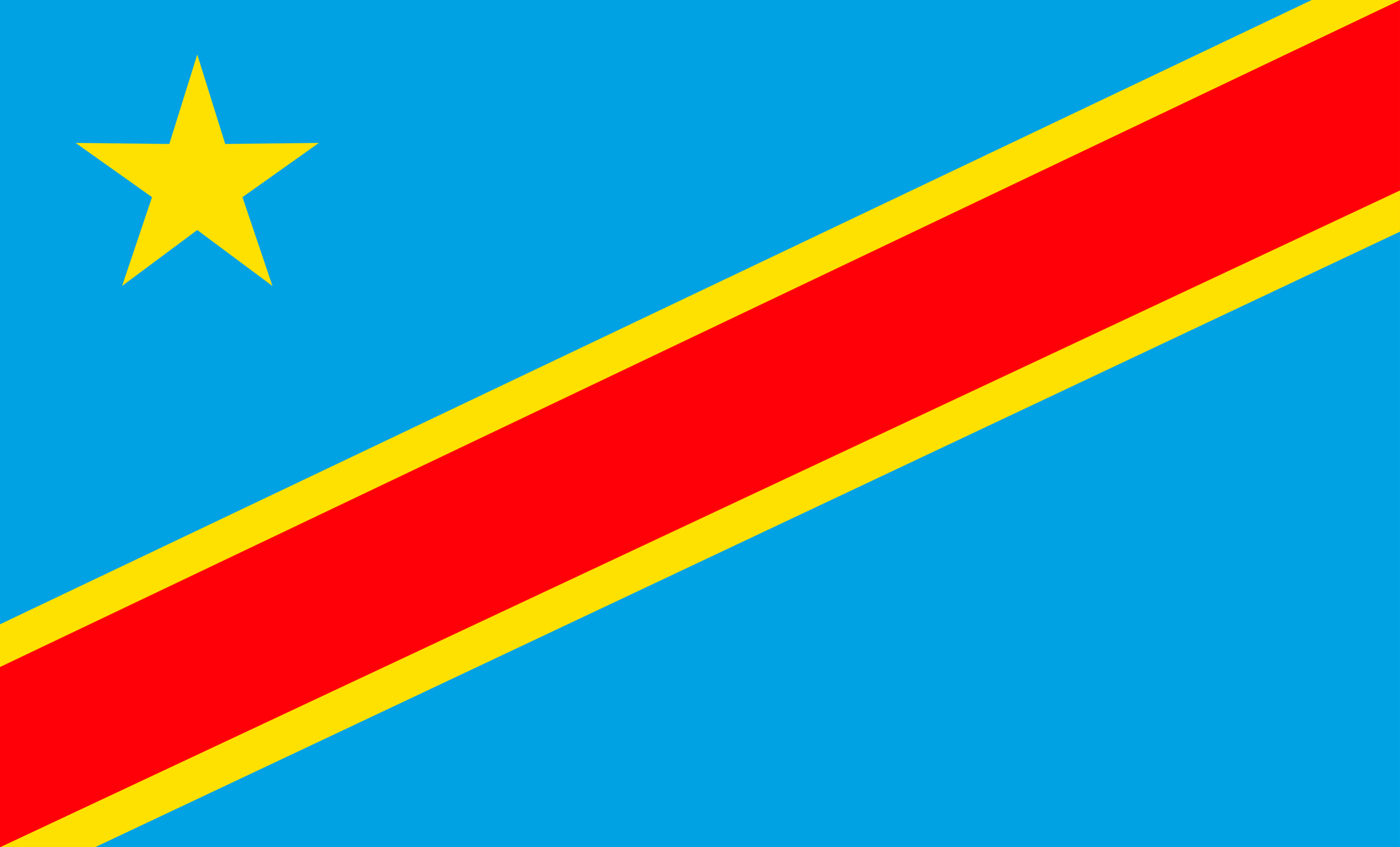 The National Flag of the Democratic Republic of Congo features a sky-blue background with a diagonally divided red stripe bordered by two narrow yellow stripes.