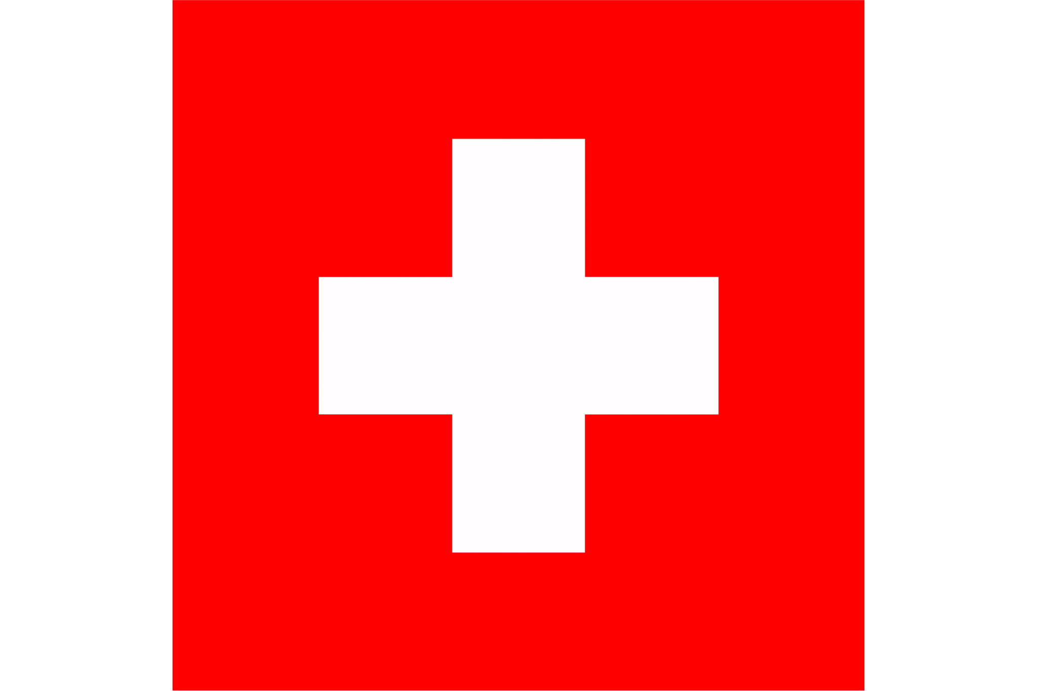 The National Flag of Switzerland is a red square flag with a bold, equilateral white cross in its center.