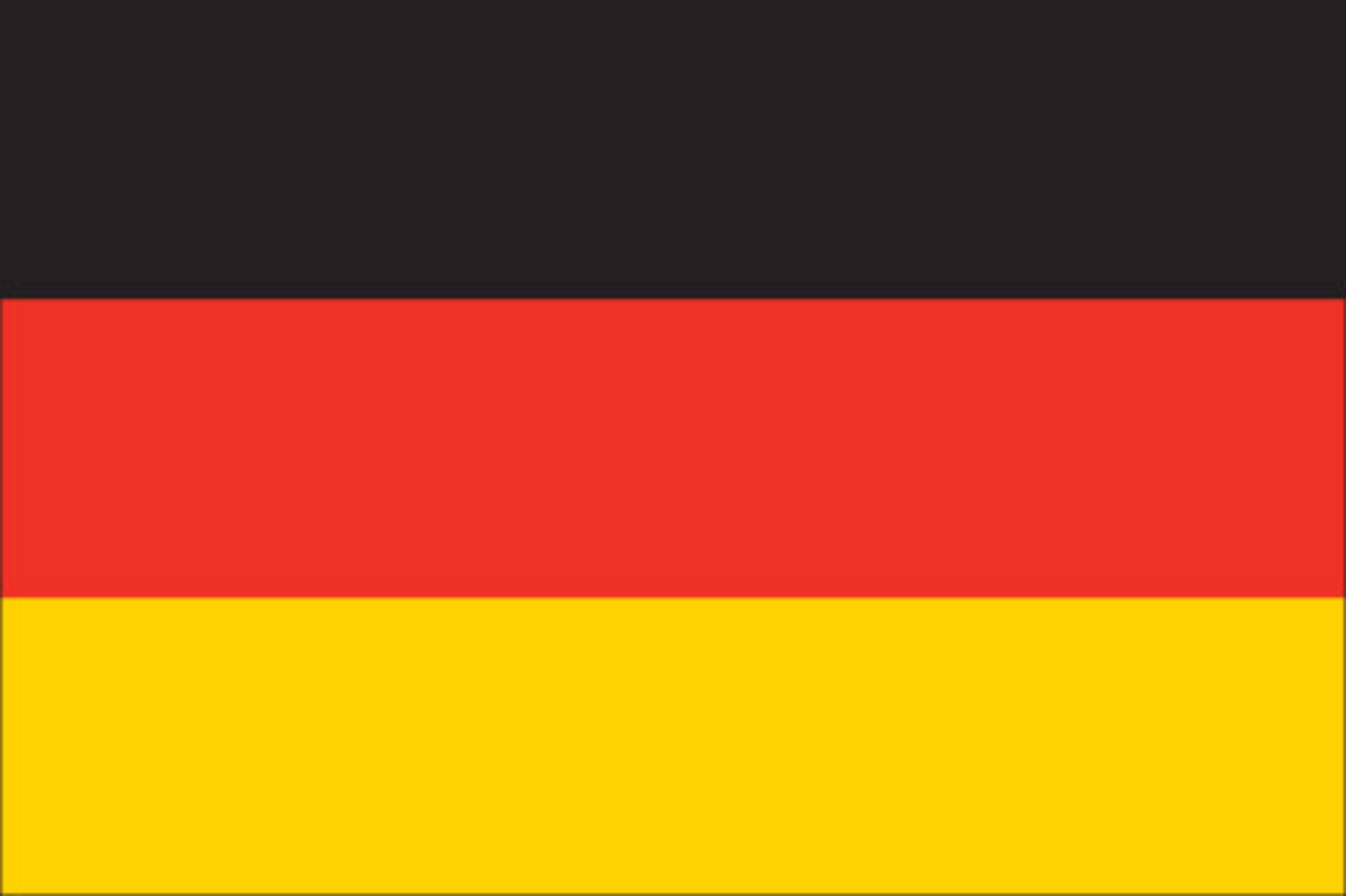 The National Flag of Germany features three equal horizontal bands of black (top), red, and gold.