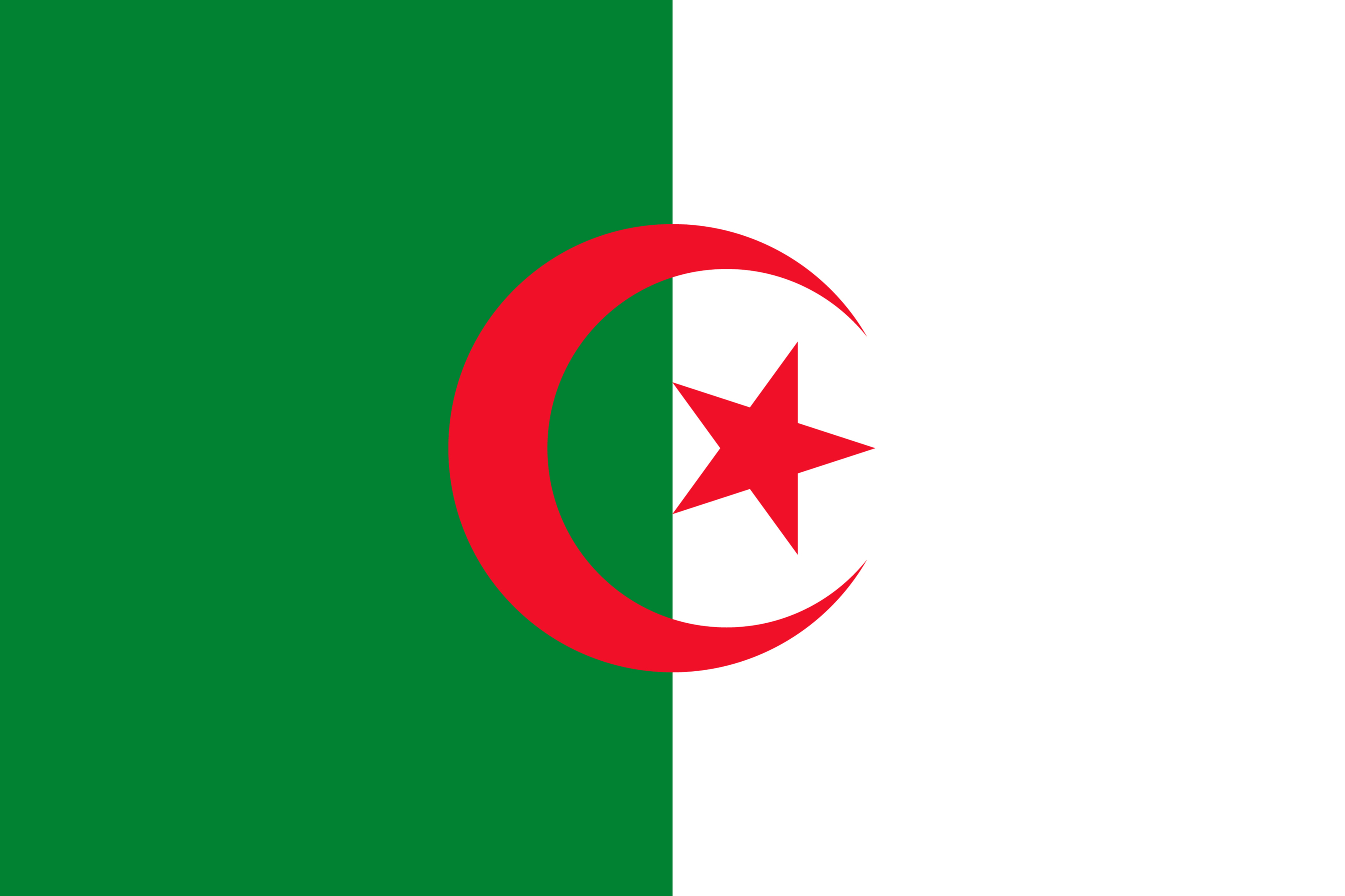 The National Flag of Algeria features two equal vertical bands of green (hoist side) and white, with a red star and a crescent at the two-color boundary
