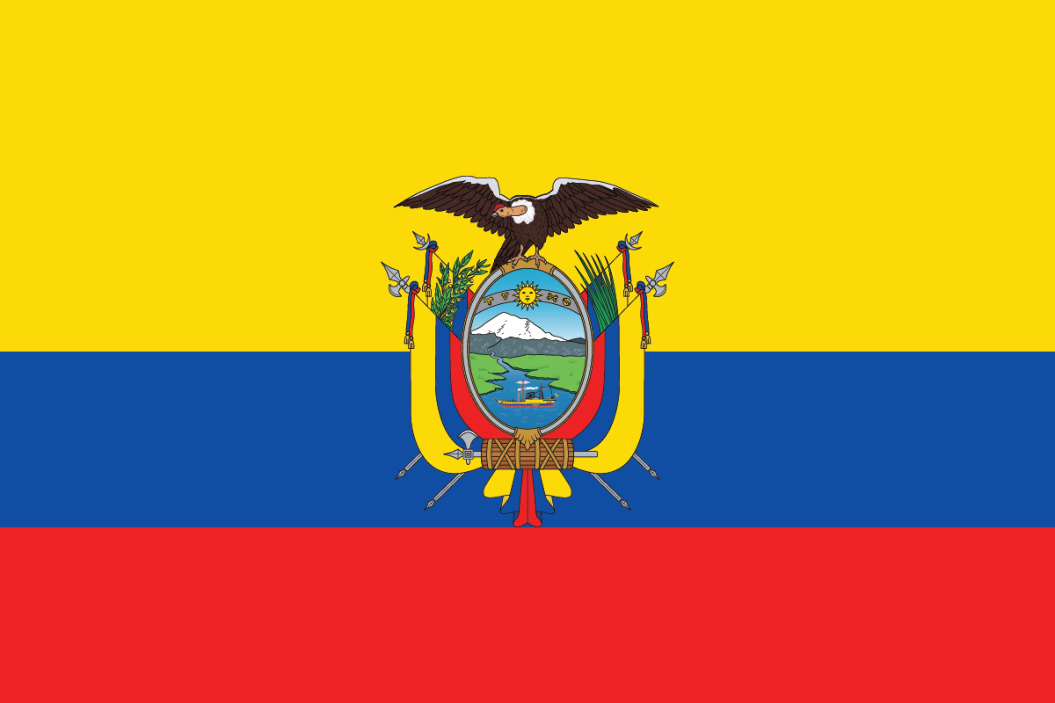 The National Flag of Ecuador features three horizontal bands of yellow (top, double-width), blue, and red; with the coat of arms superimposed at the center of the flag.