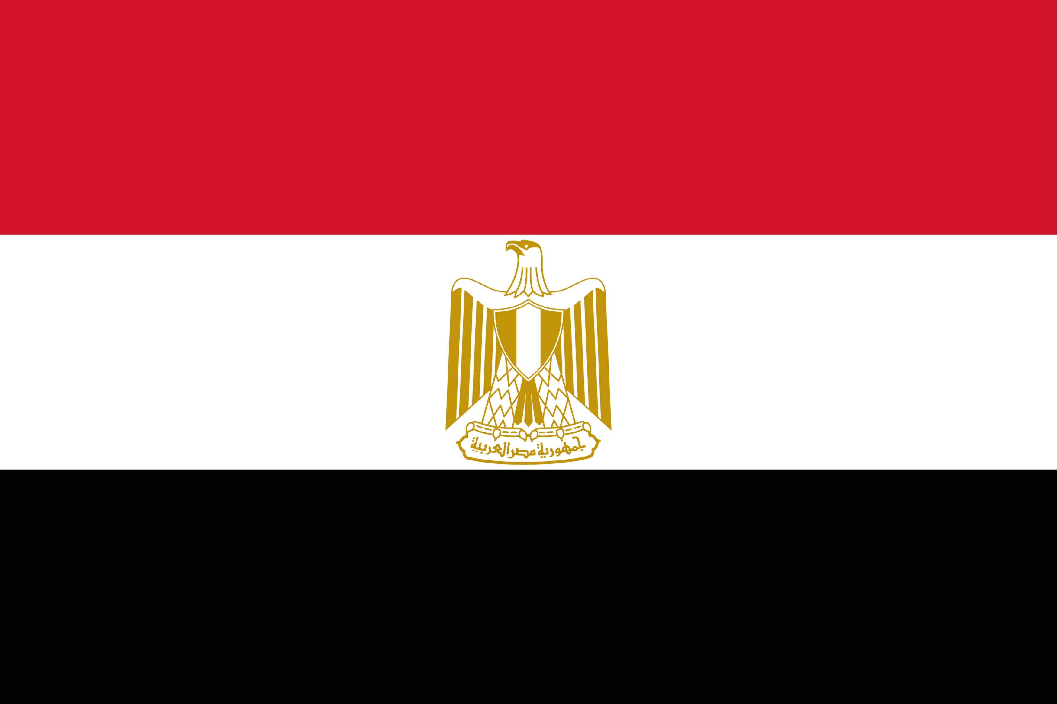 The flag of Egypt features a golden Eagle of Saladin, Egypt's national emblem.