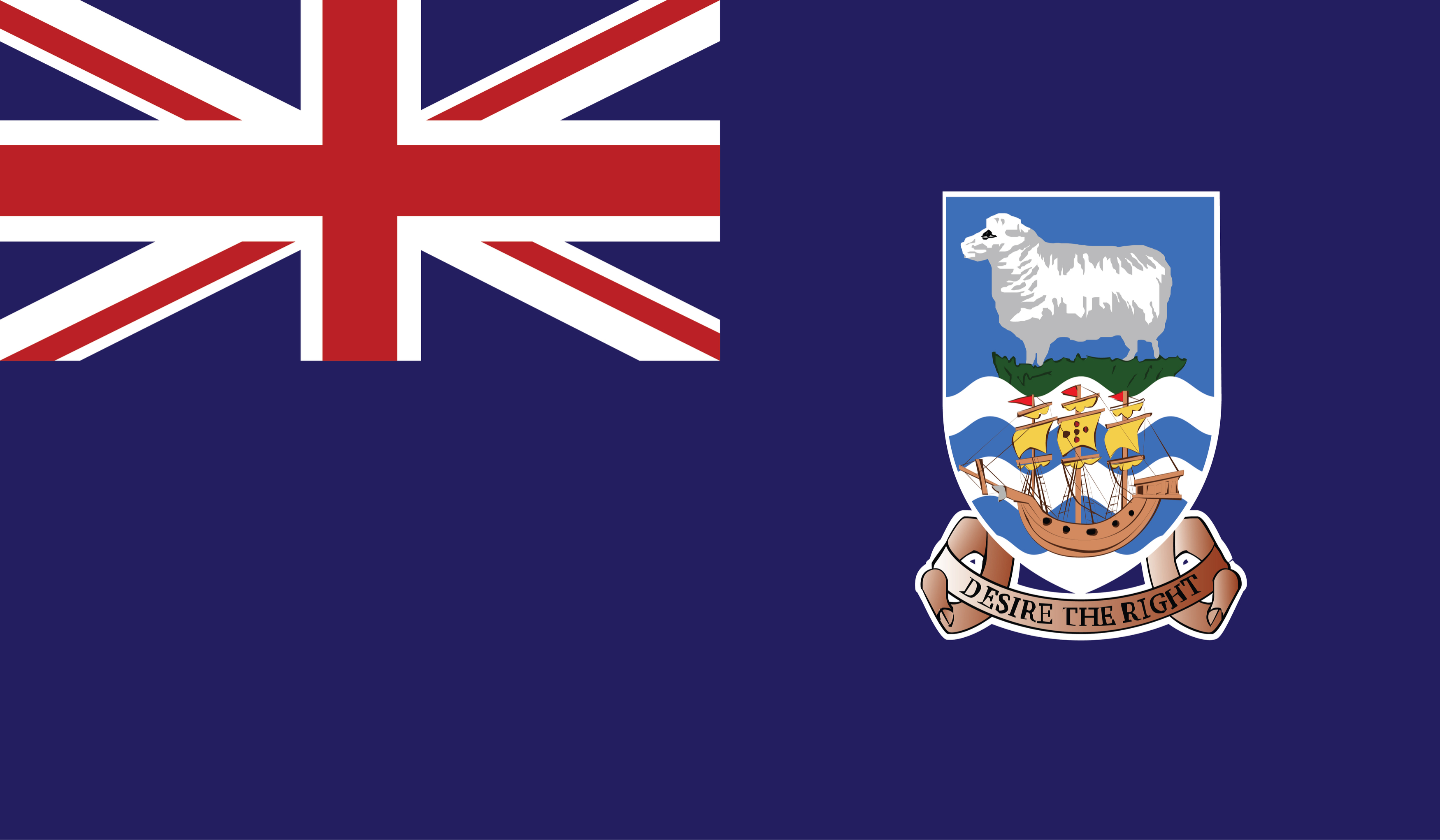 The flag of Falkland Islands comprises a blue background with the Union Jack in the upper hoist-side quadrant and the Falkland Island coat of arms centered on the outer half of the flag
