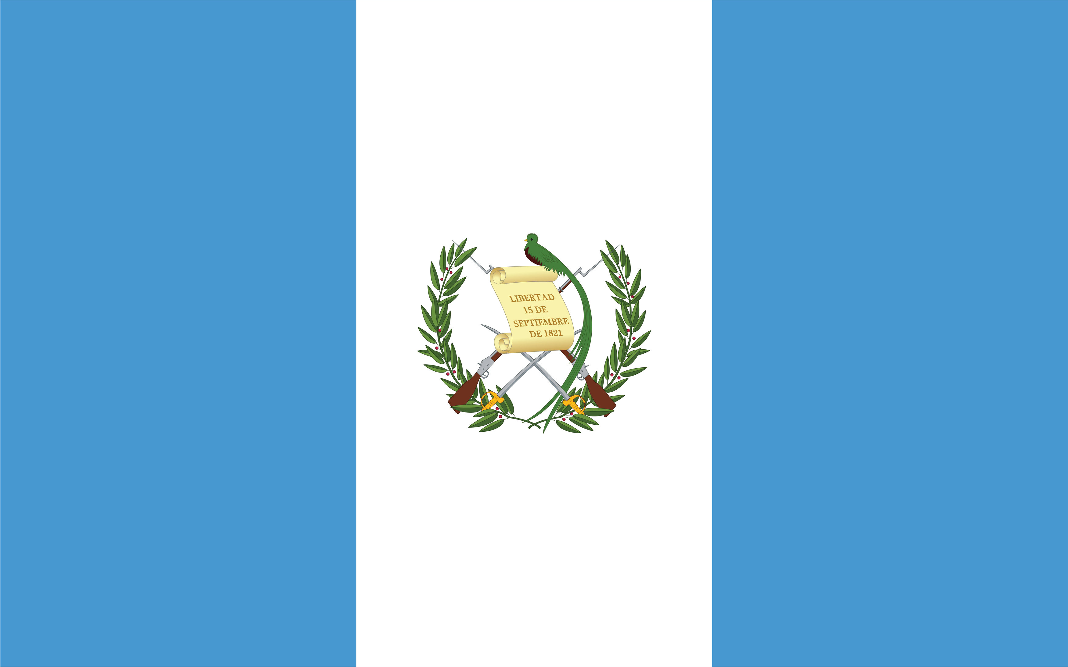 Flag of Guatemala is a tricolor flag of blue, white, blue vertical bands with the coat of arms centered on the white field.
