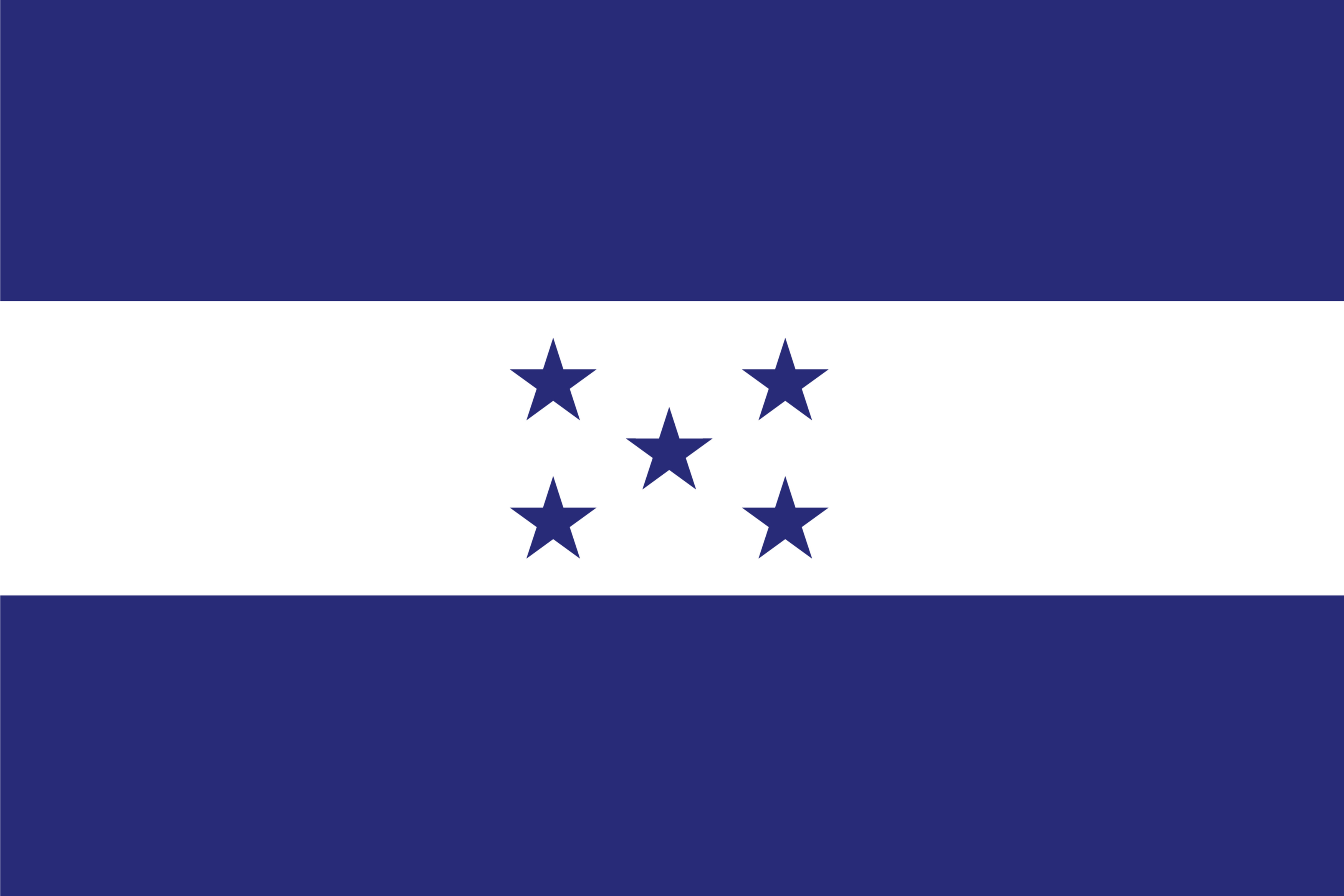 The national flag of Honduras is a tricolor horizontal flag of white sandwiched between two blue bands with five stars centered on white