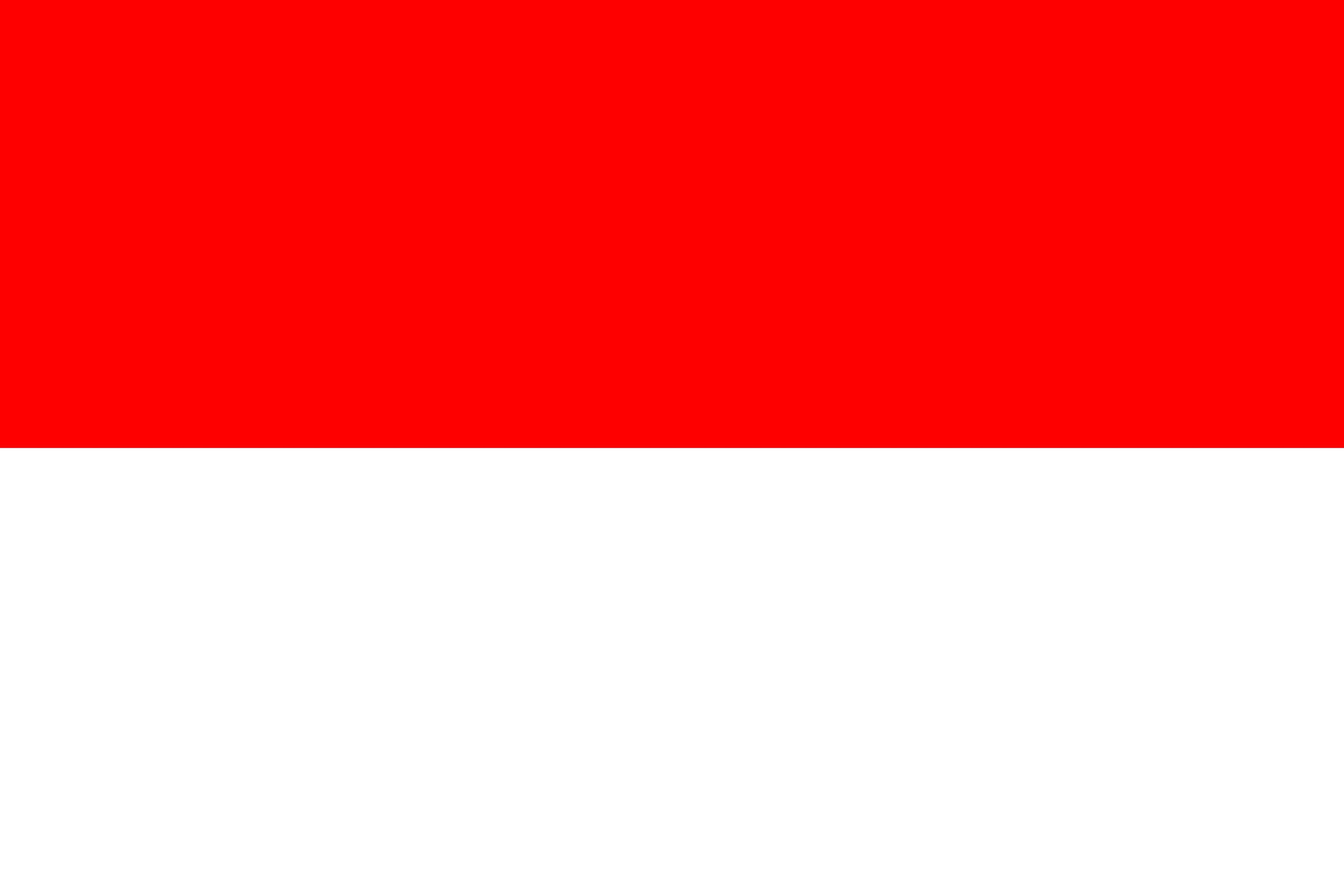 The national flag of Indonesia is a bicolor flag of red (top) and white equal horizontal bands.