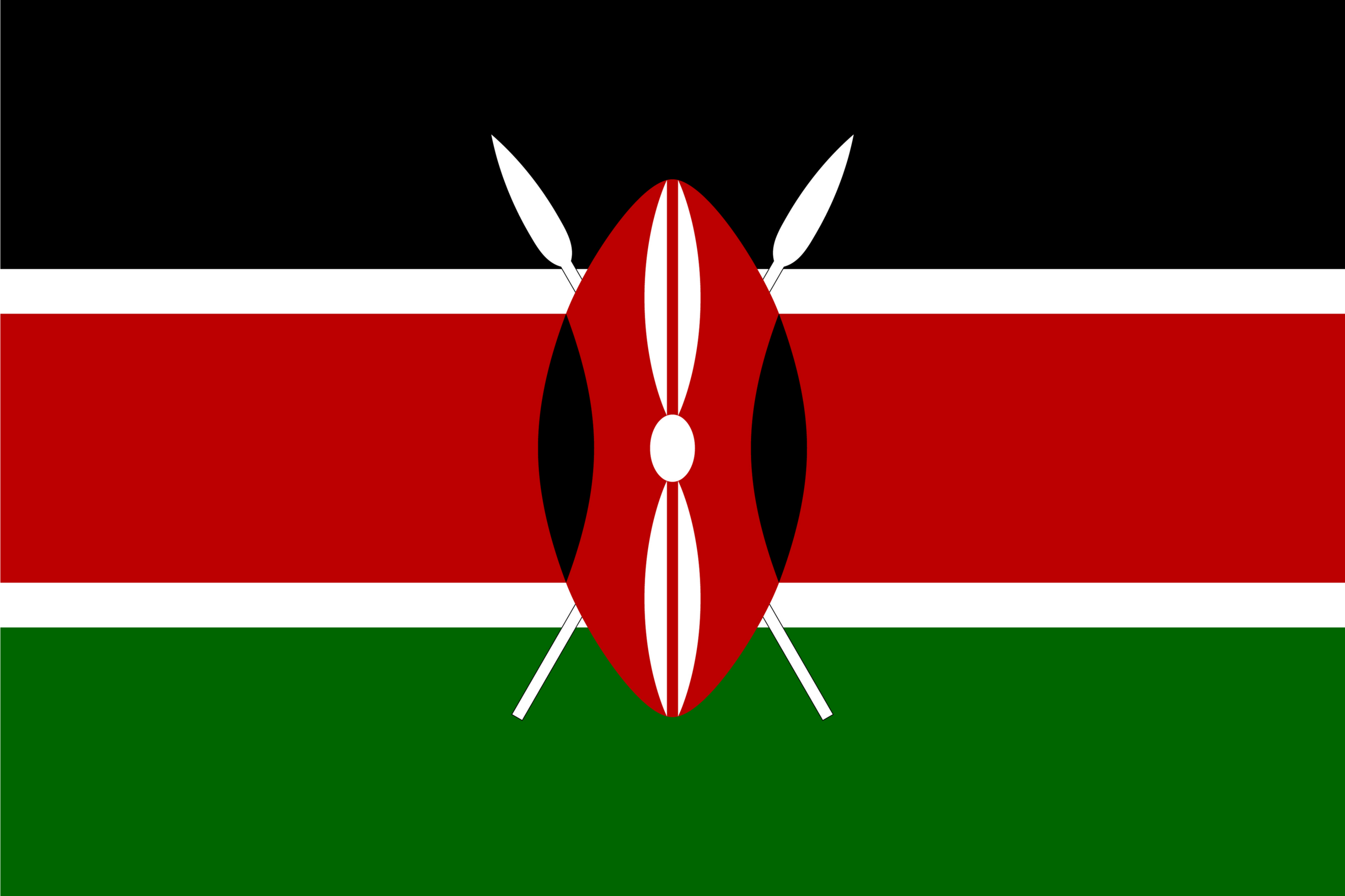 The flag of Kenya is a tricolor flag of black (top), red, and green horizontal bands separated from each other by two white stripes, with a traditional shield covering crossed spears.