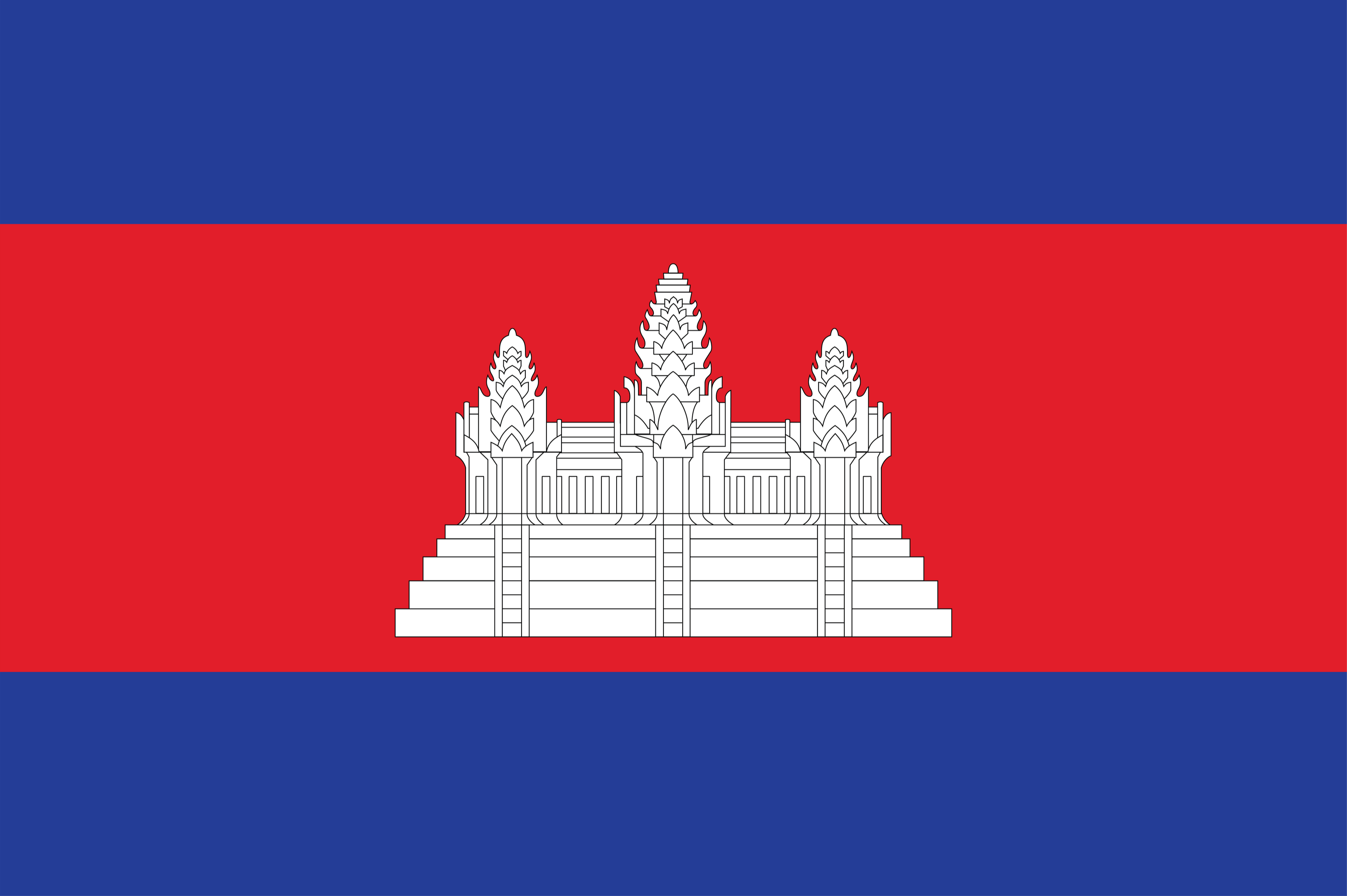 The flag of Cambodia.