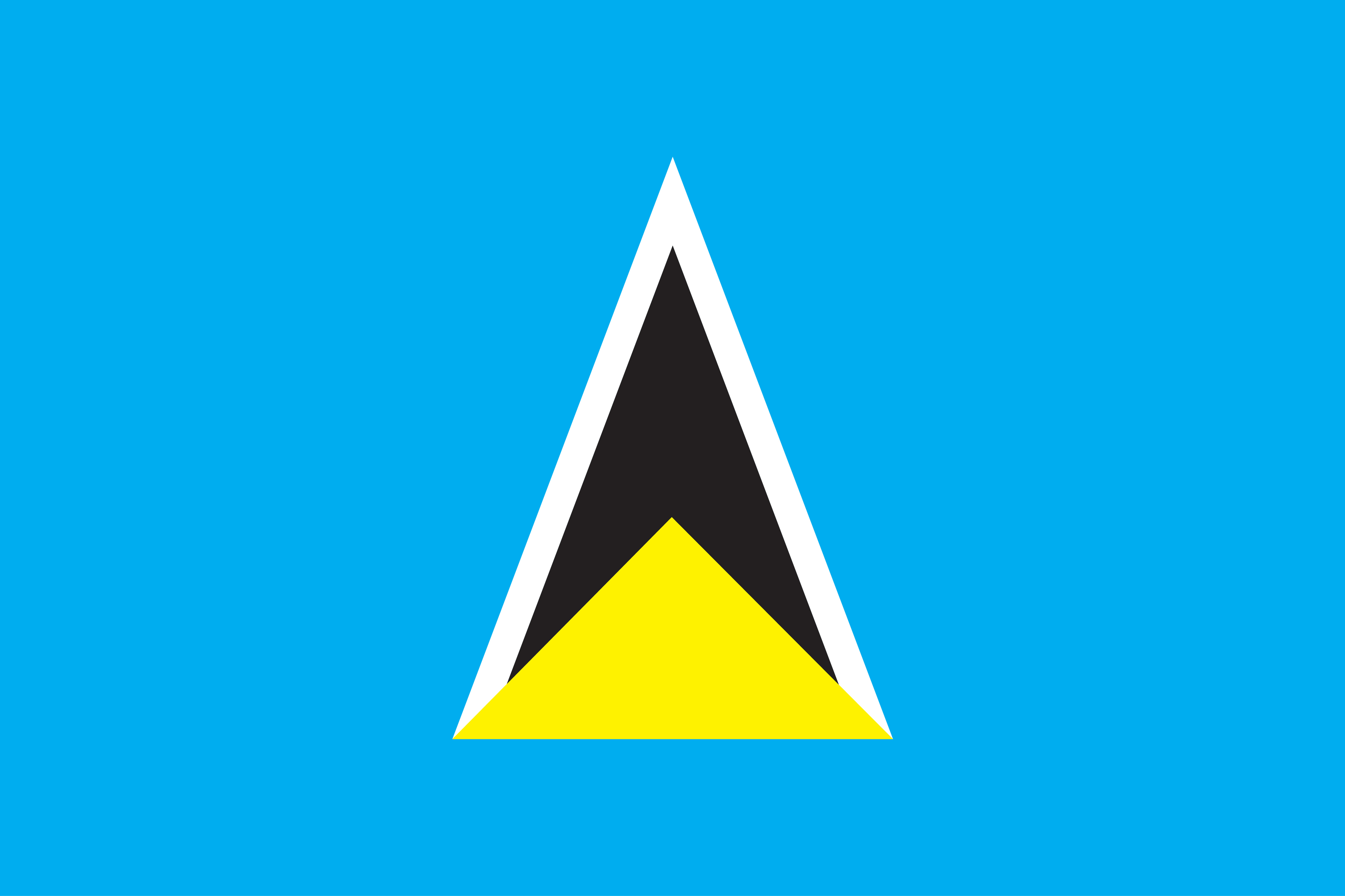 The two triangles on the flag represent the two volcanic cones of Saint Lucia.