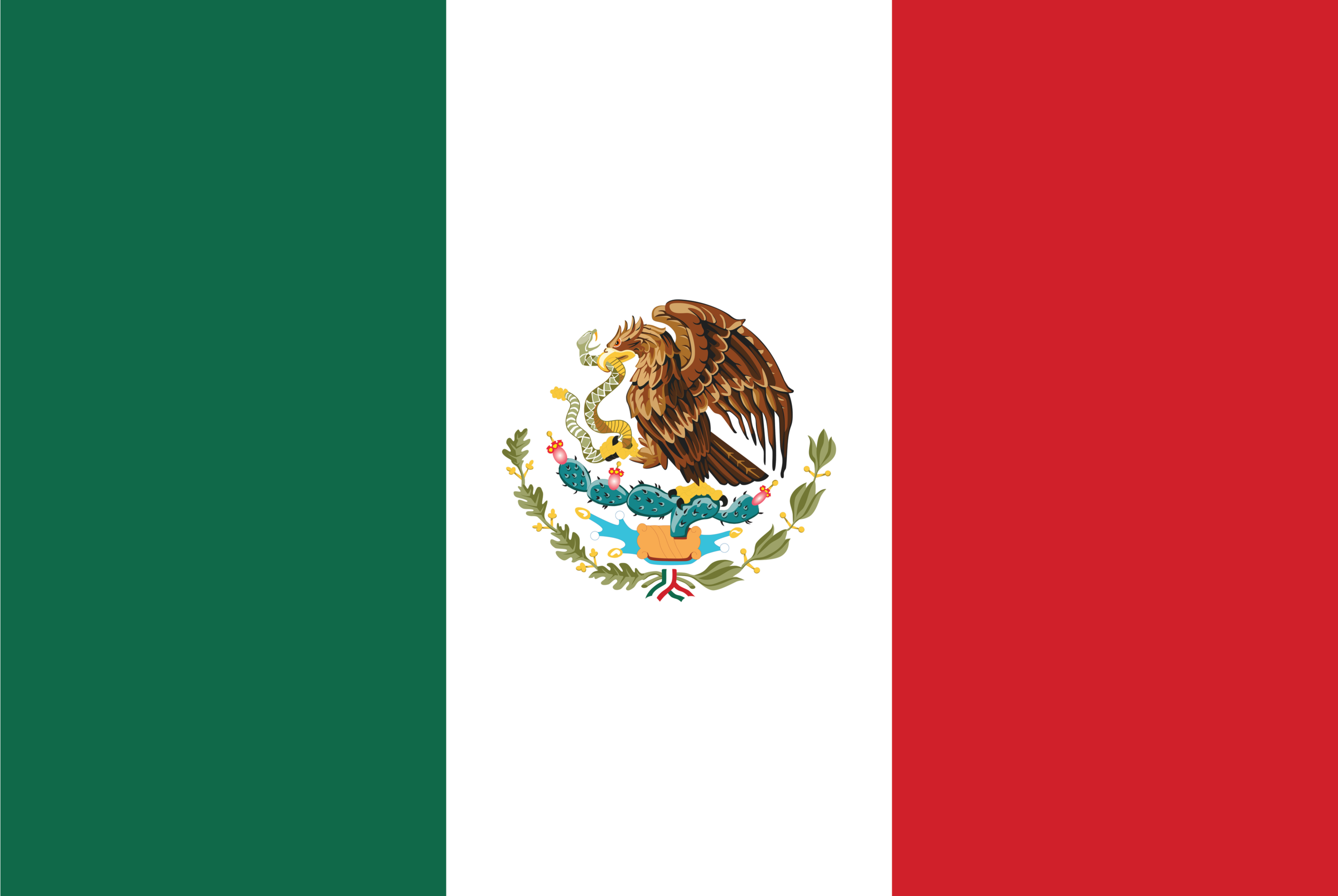 The tricolored flag of Mexico