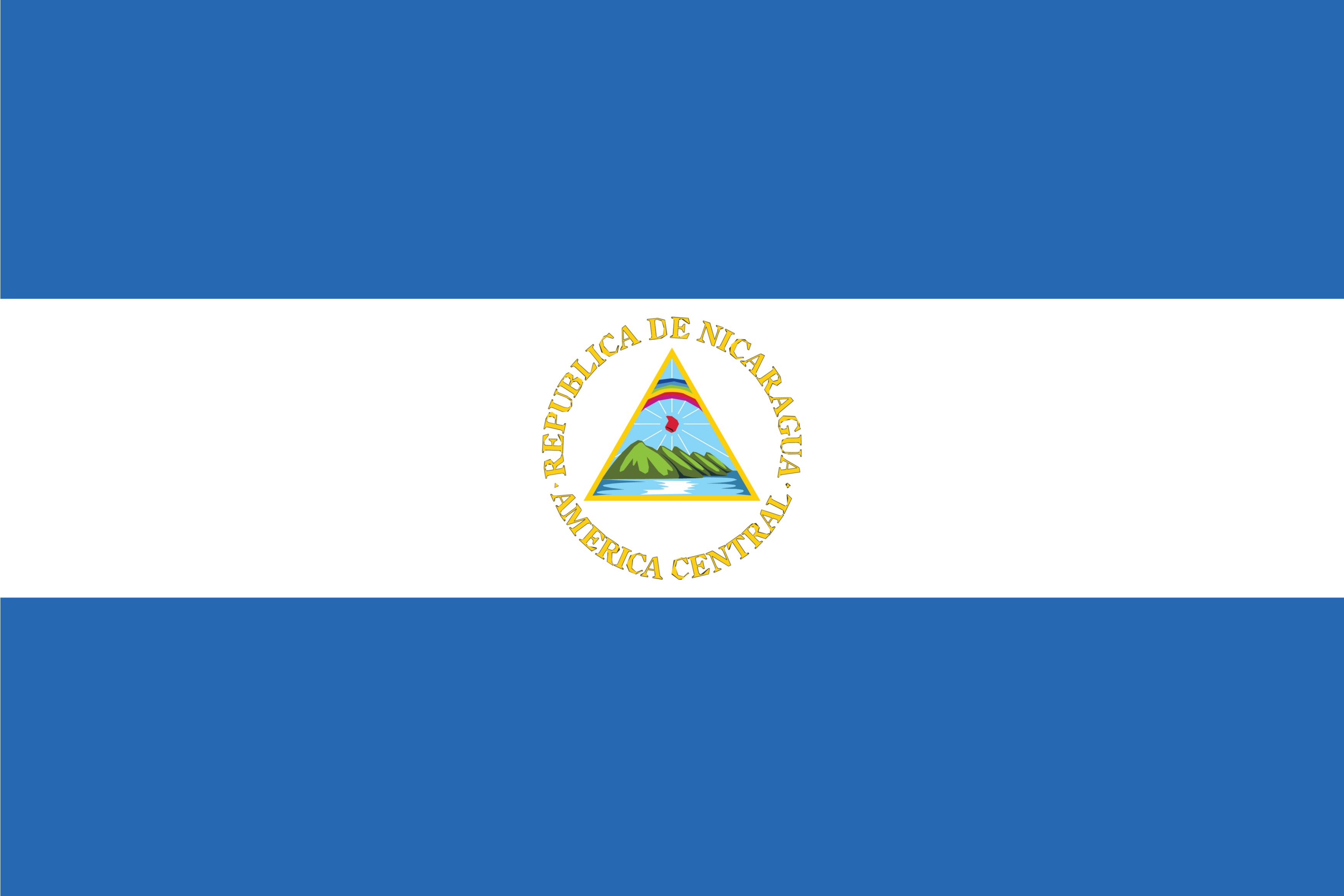 The flag of Nicaragua is a bicolor with three horizontal bands of blue (top), white, and blue with the country's National Coat of Arms centered on white.