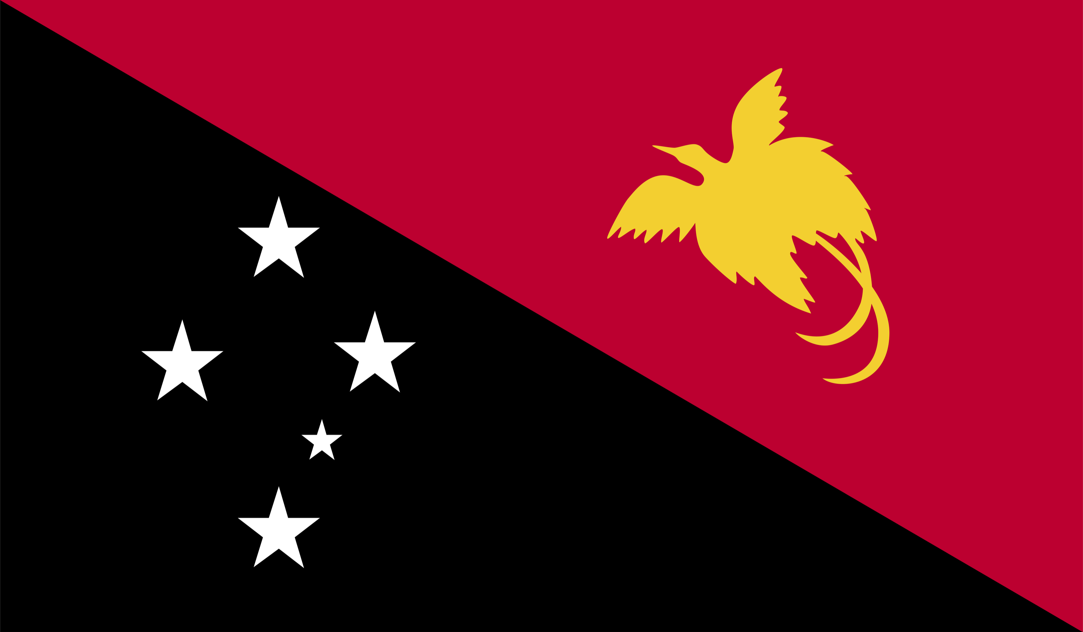 The flag of Papua New Guinea features the Raggiana bird-of-paradise and the Southern Cross constellation.