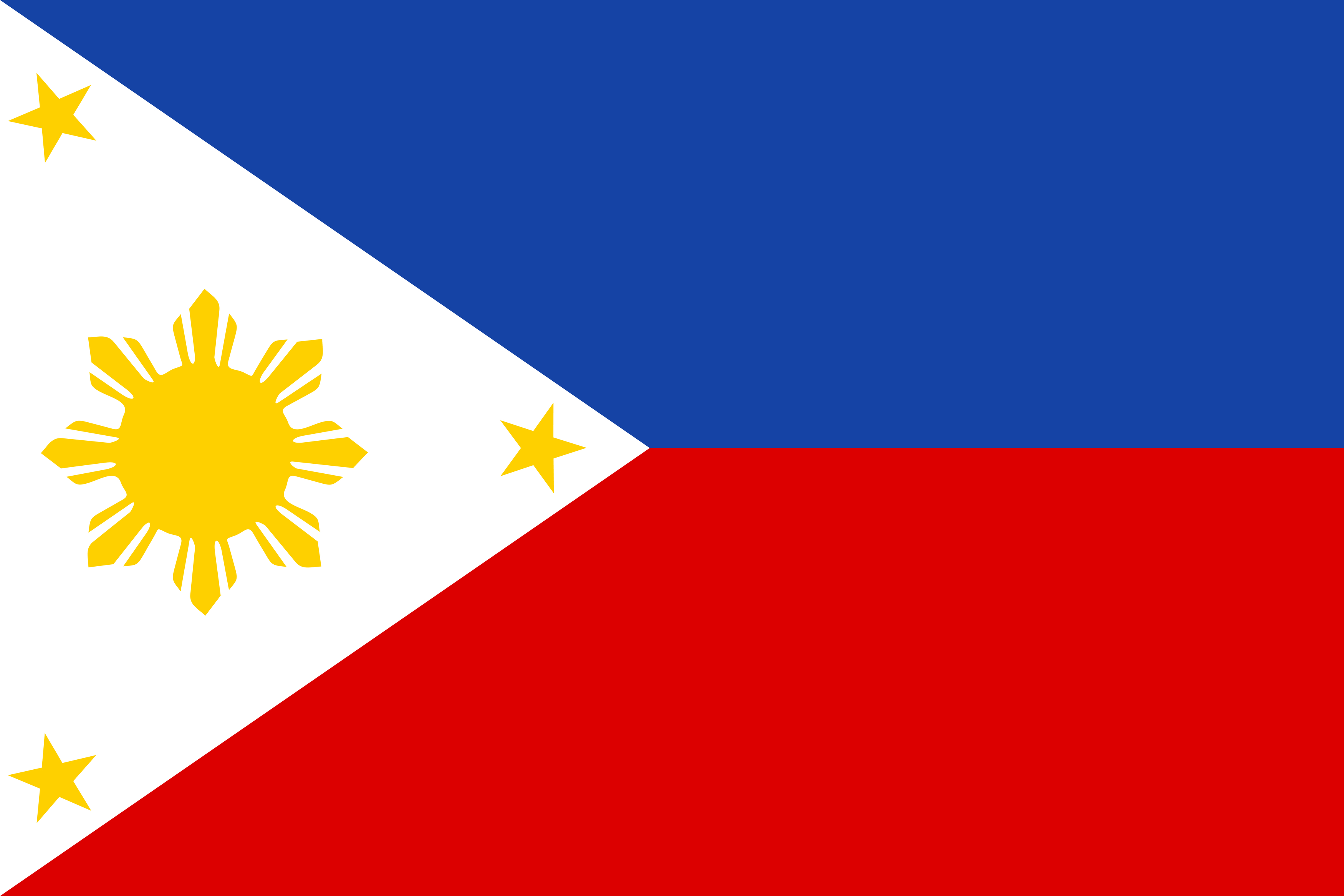 The National Flag of the Philippines features two equal horizontal bands of blue (top) and red with a white equilateral triangle, based on the hoist side of the flag.