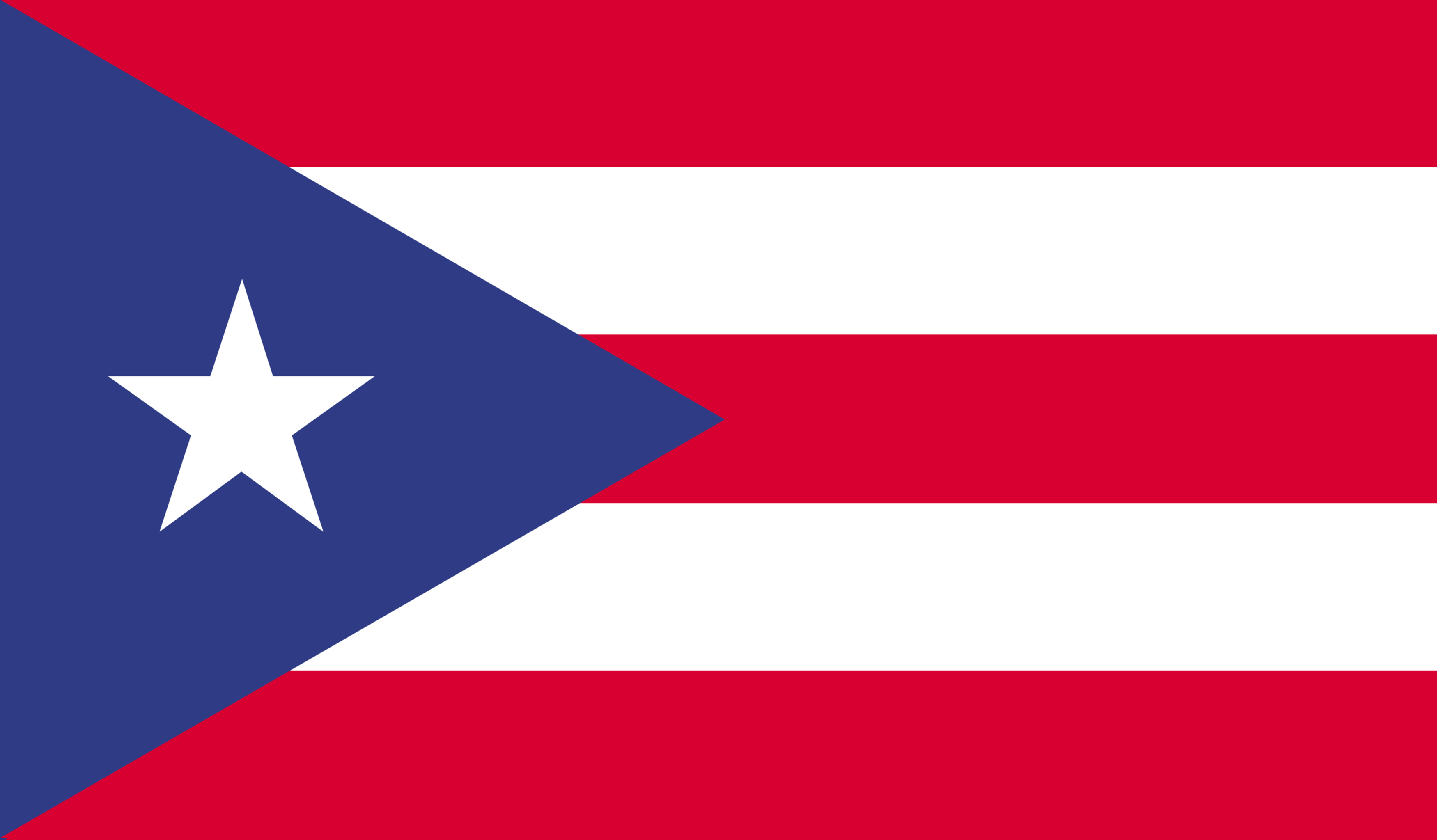 The Puerto Rican flag features a white star in a blue triangle with red and white stripes.