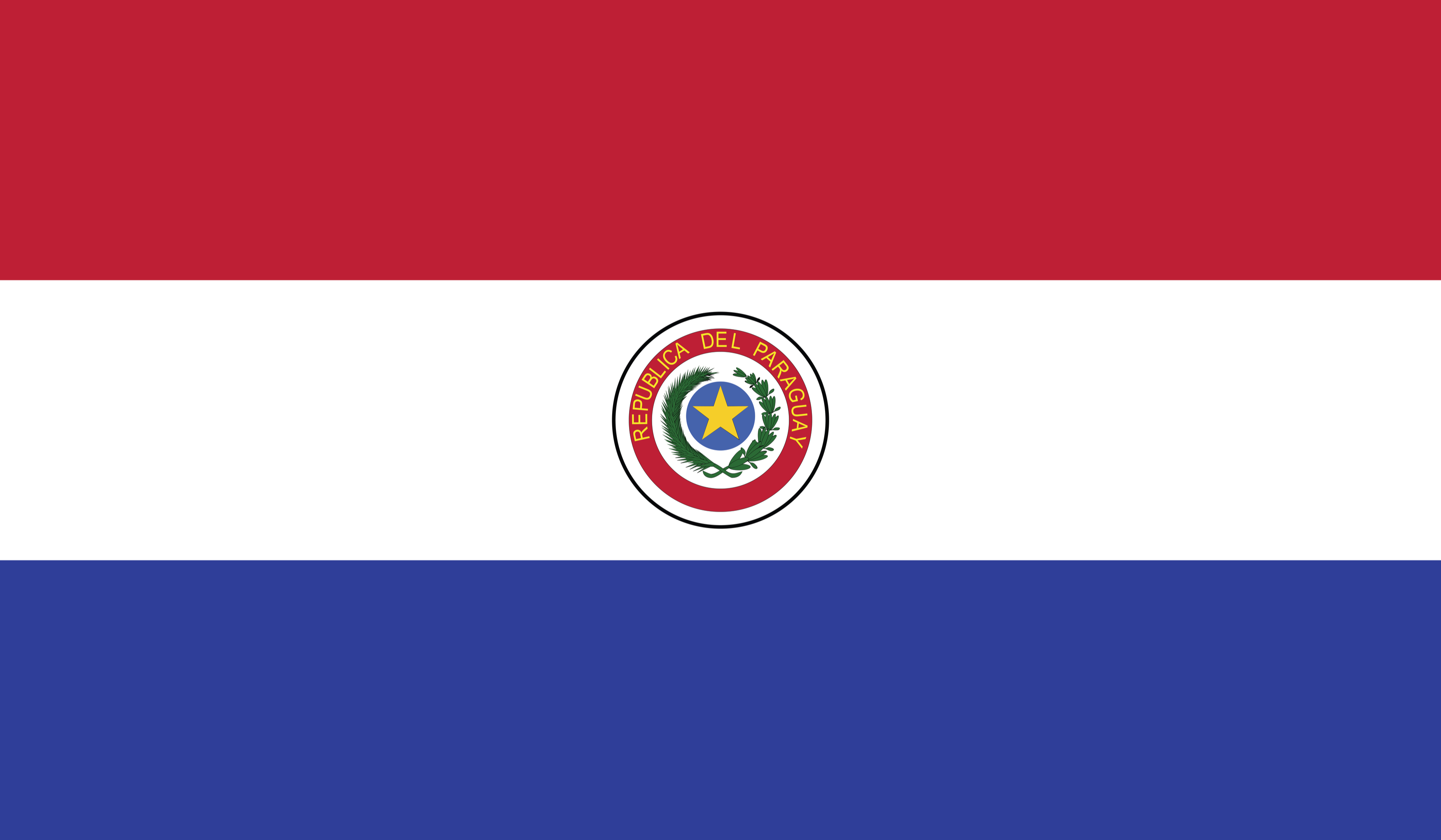 The flag of Paraguay currently in use today.