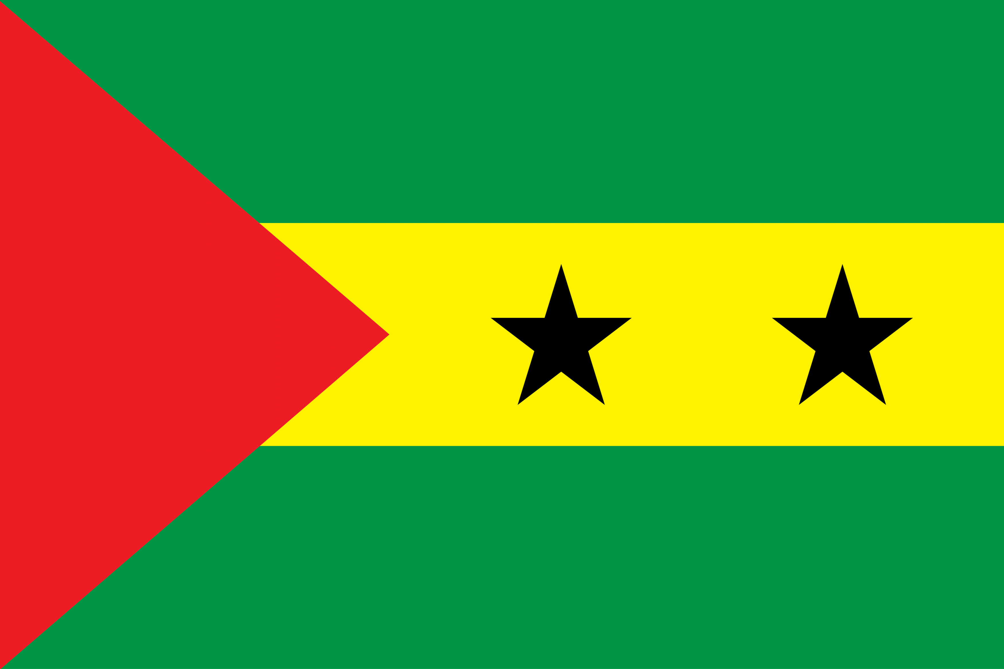 The two black stars of the flag represent the two main islands (Sao Tome and Principe​) of the nation.