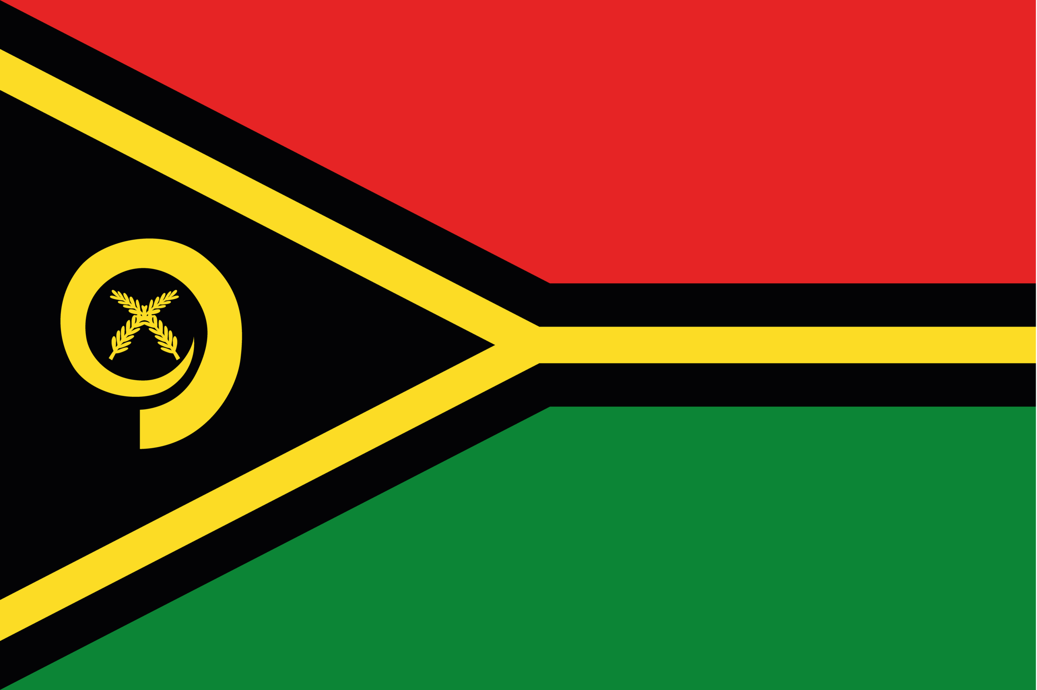 The flag of Vanuatu uses the colors of the Vanuatu independence flag.