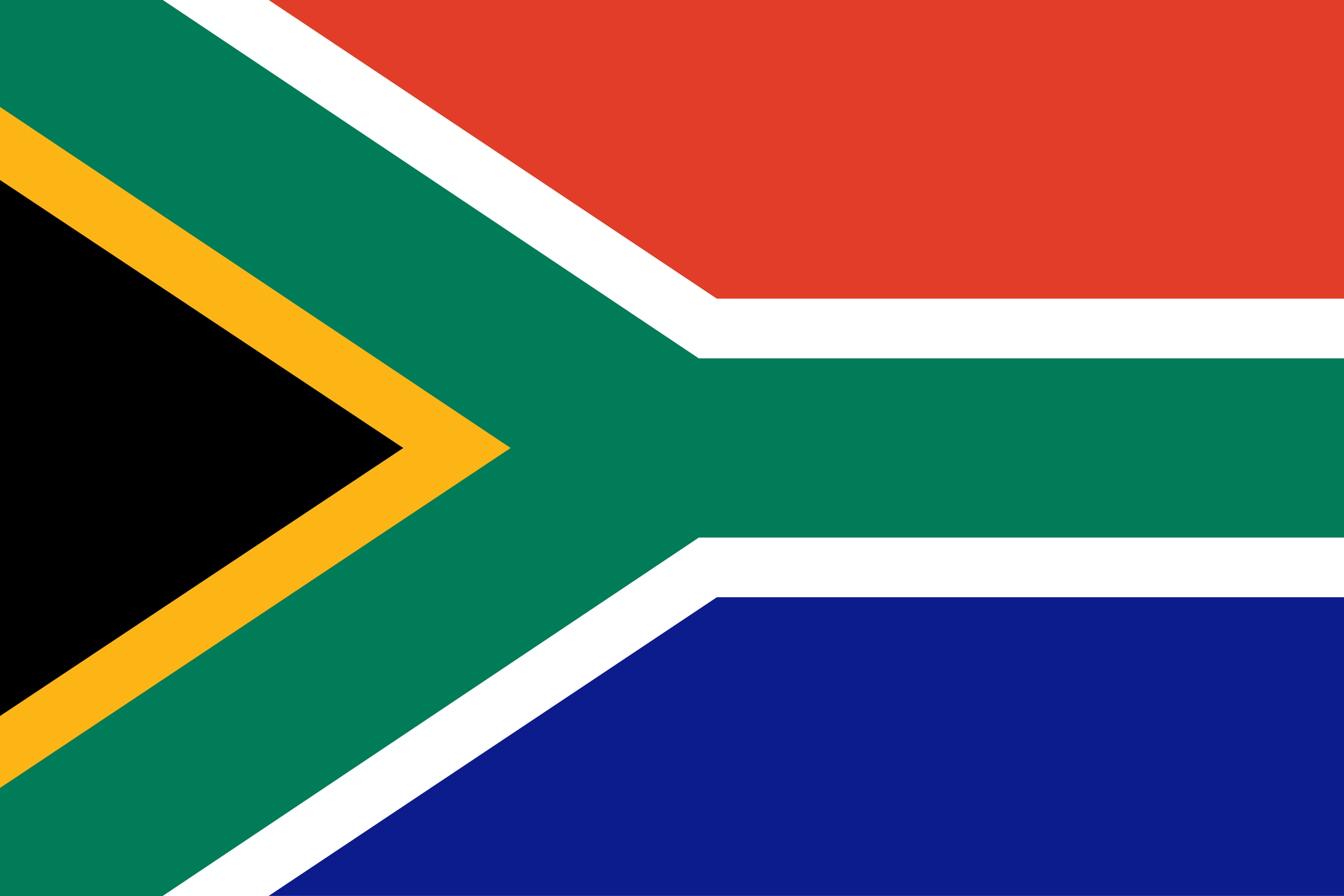 The National Flag of South Africa features two equal width horizontal bands of red (top) and blue (bottom) separated by a central green band that splits into a horizontal Y - the arms of which end at the corners of the flag's hoist side.