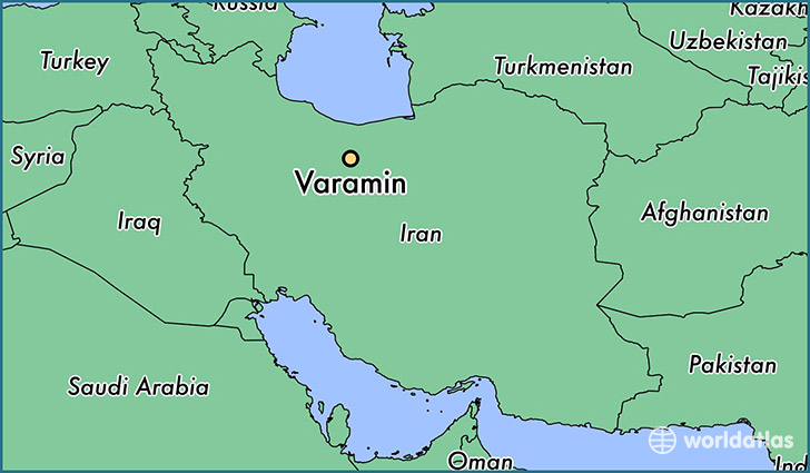 map showing the location of Varamin