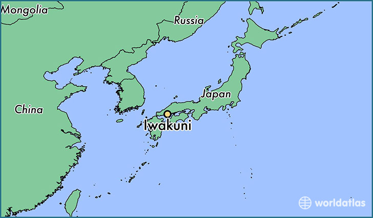 map showing the location of Iwakuni