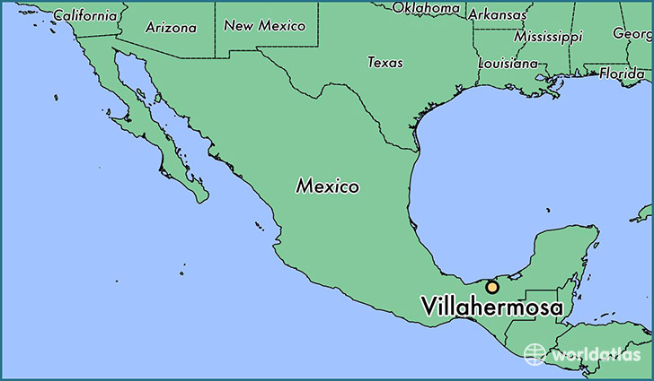 map showing the location of Villahermosa