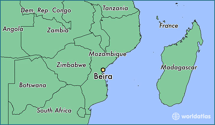 map showing the location of Beira
