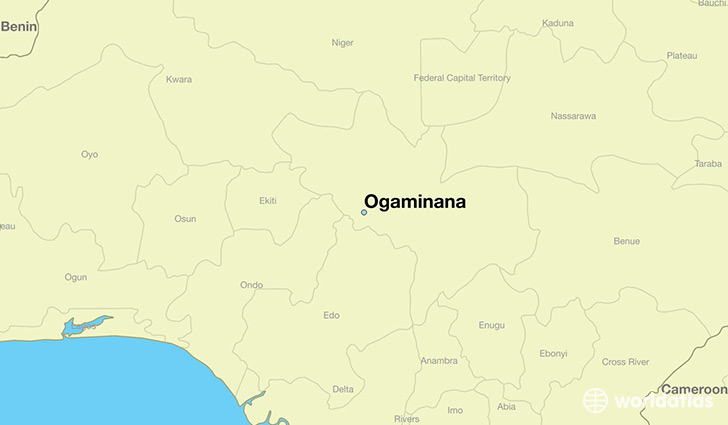 map showing the location of Ogaminana